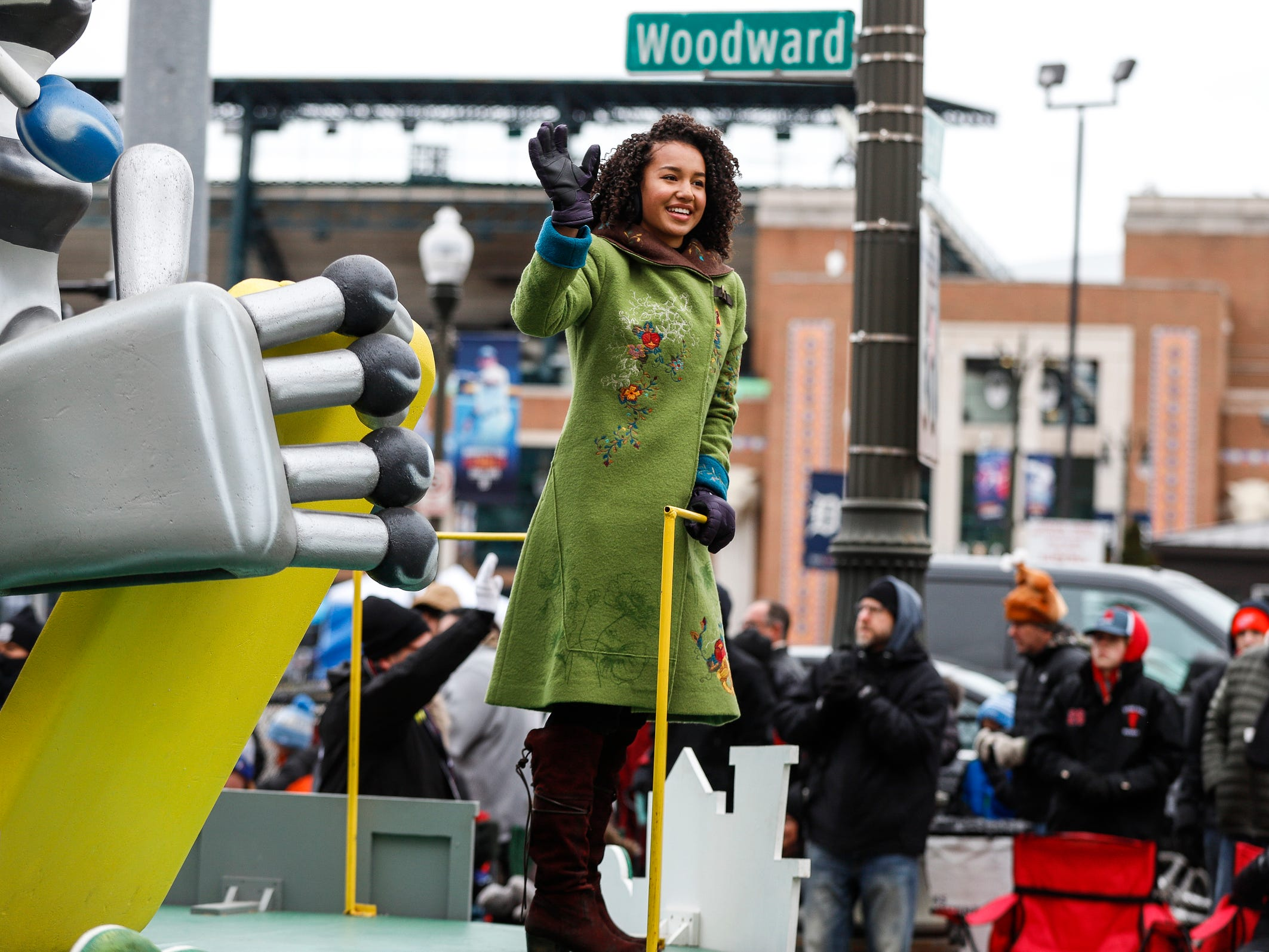 Disney Channel actress Sofia Wylie waves at the crowd during the 92nd America's Thanksgiving Day Parade in Detroit, Thursday, Nov. 22, 2018.