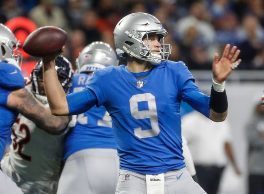 Lions quarterback Matthew Stafford makes a pass during the second half of the Lions' 23-16 loss to the Bears on Thursday, Nov. 22, 2018, at Ford Field.