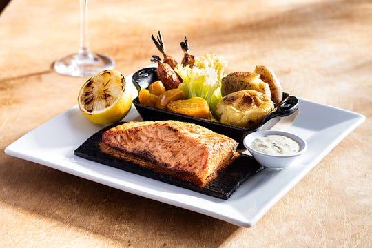 Seasons 52 cedar plank salmon dish.