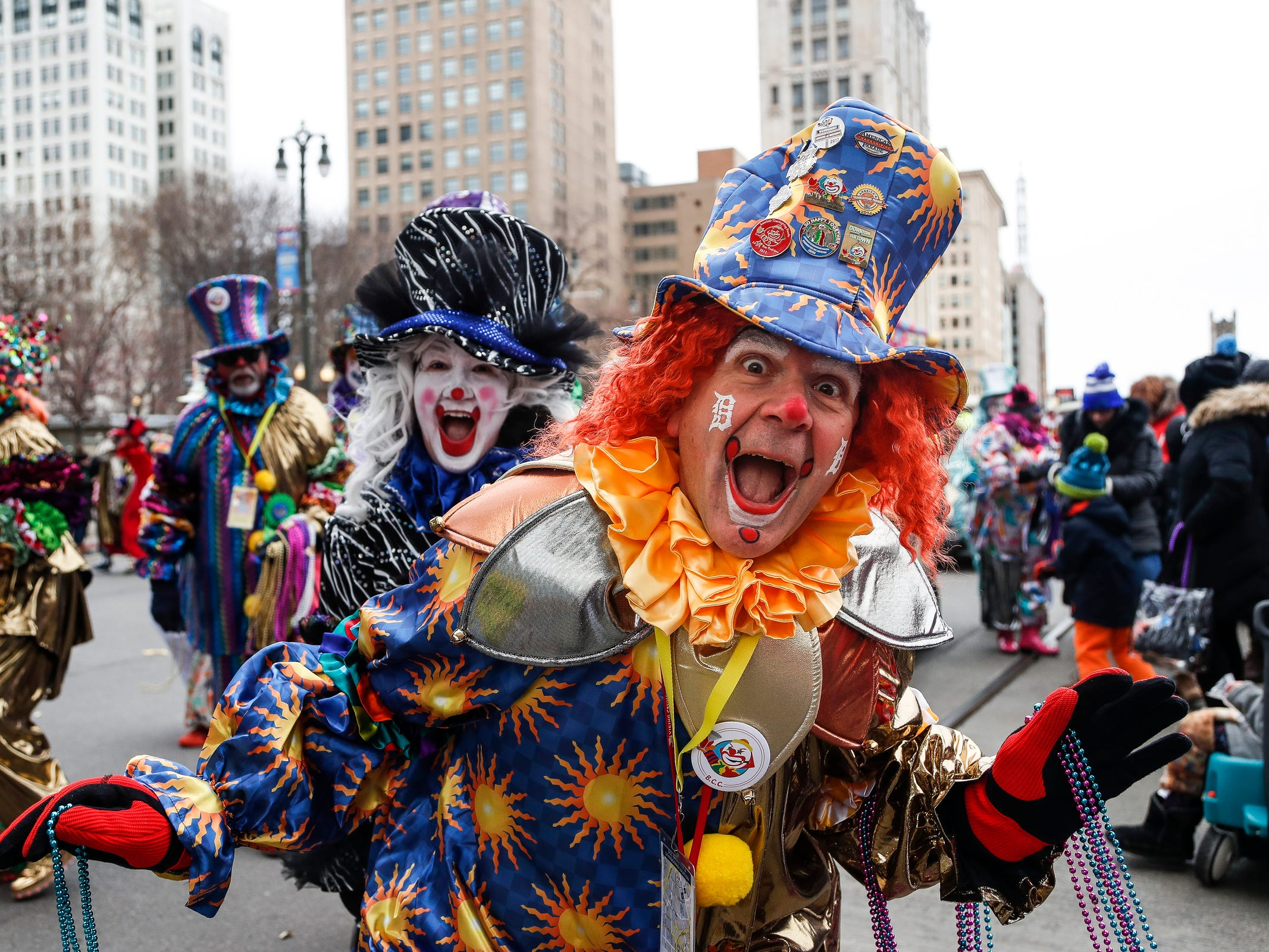 Distinguished Clown Corps members pose for a photo  during the 92nd America's Thanksgiving Day Parade in Detroit, Thursday, Nov. 22, 2018.