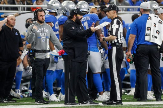 Detroit Lions head coach Matt Patricia talks to a referee during the second half at the Ford Field in Detroit, Thursday, Nov. 22, 2018.