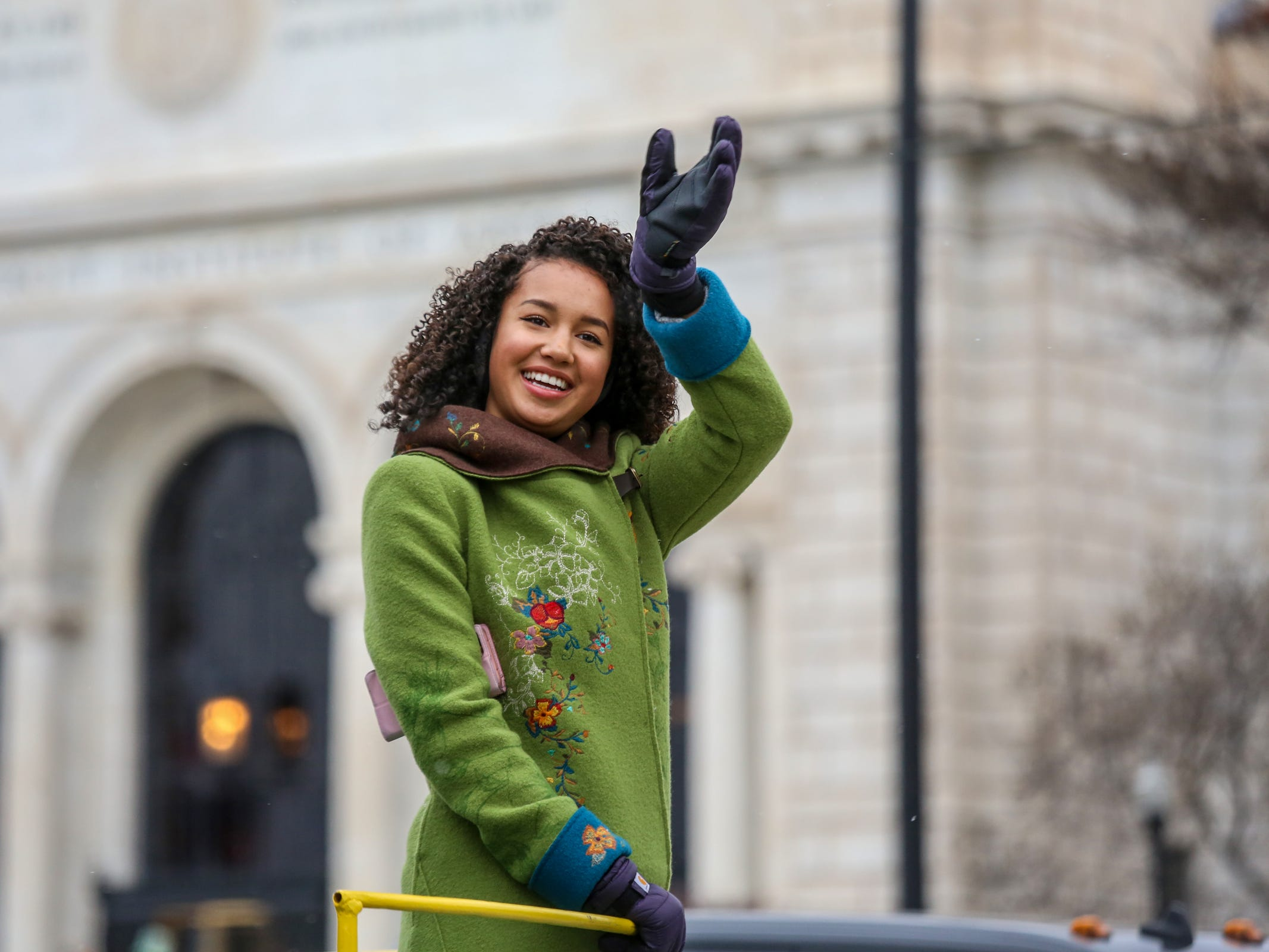 Disney Channel's Sofia Wylie waves to the crowd, during America's Thanksgiving Parade in Detroit on Thursday, Nov. 22, 2018.
