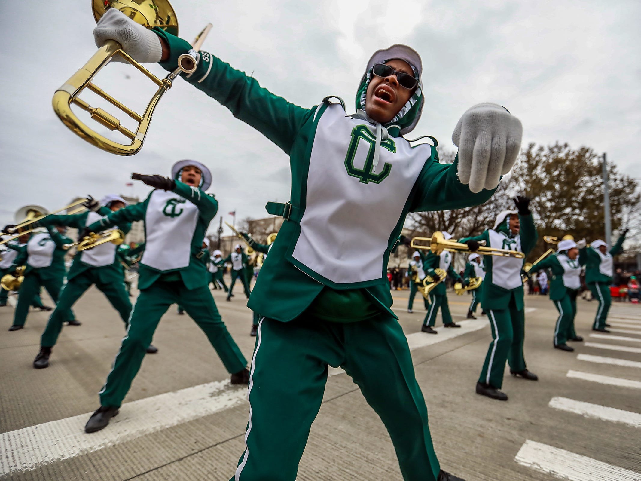 Cass Technical High School marching band performs, during America's Thanksgiving Parade in Detroit on Thursday, Nov. 22, 2018.