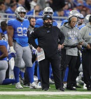 Lions head coach Matt Patricia on the sidelines during the first half on Thursday, Nov. 22, 2018, at Ford Field.