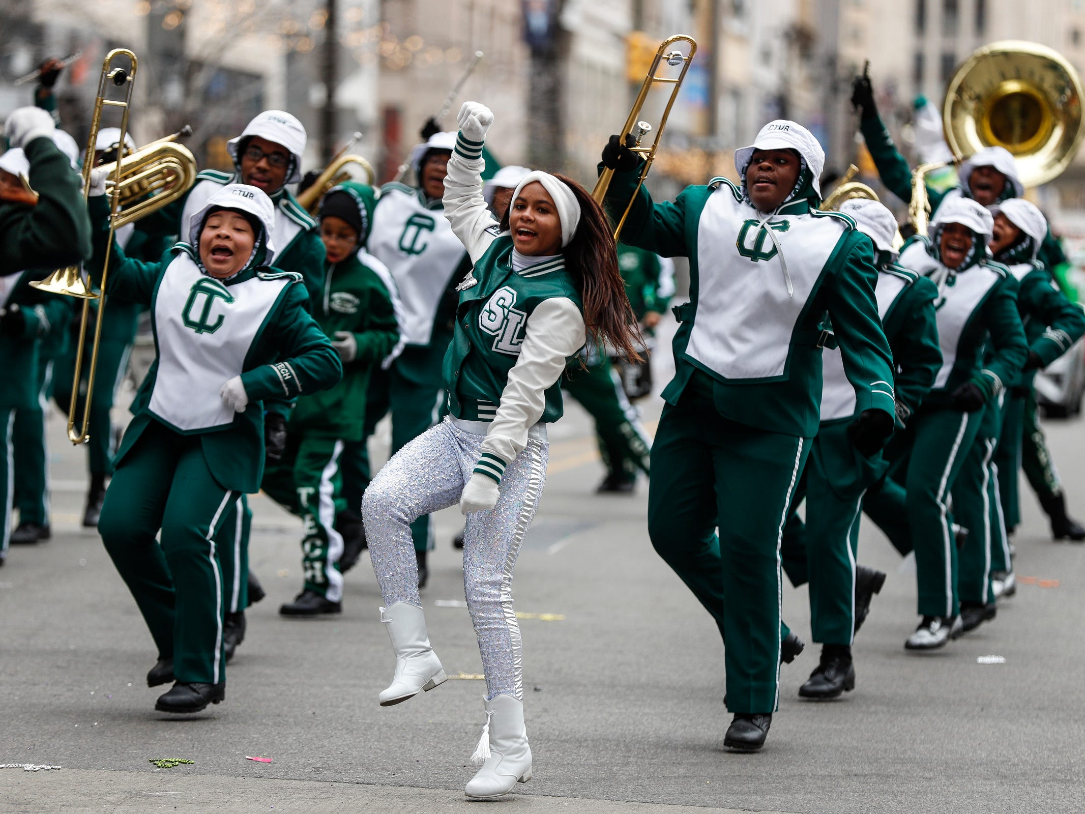 Cass Tech High School marching band perform during the 92nd America's Thanksgiving Day Parade in Detroit, Thursday, Nov. 22, 2018.