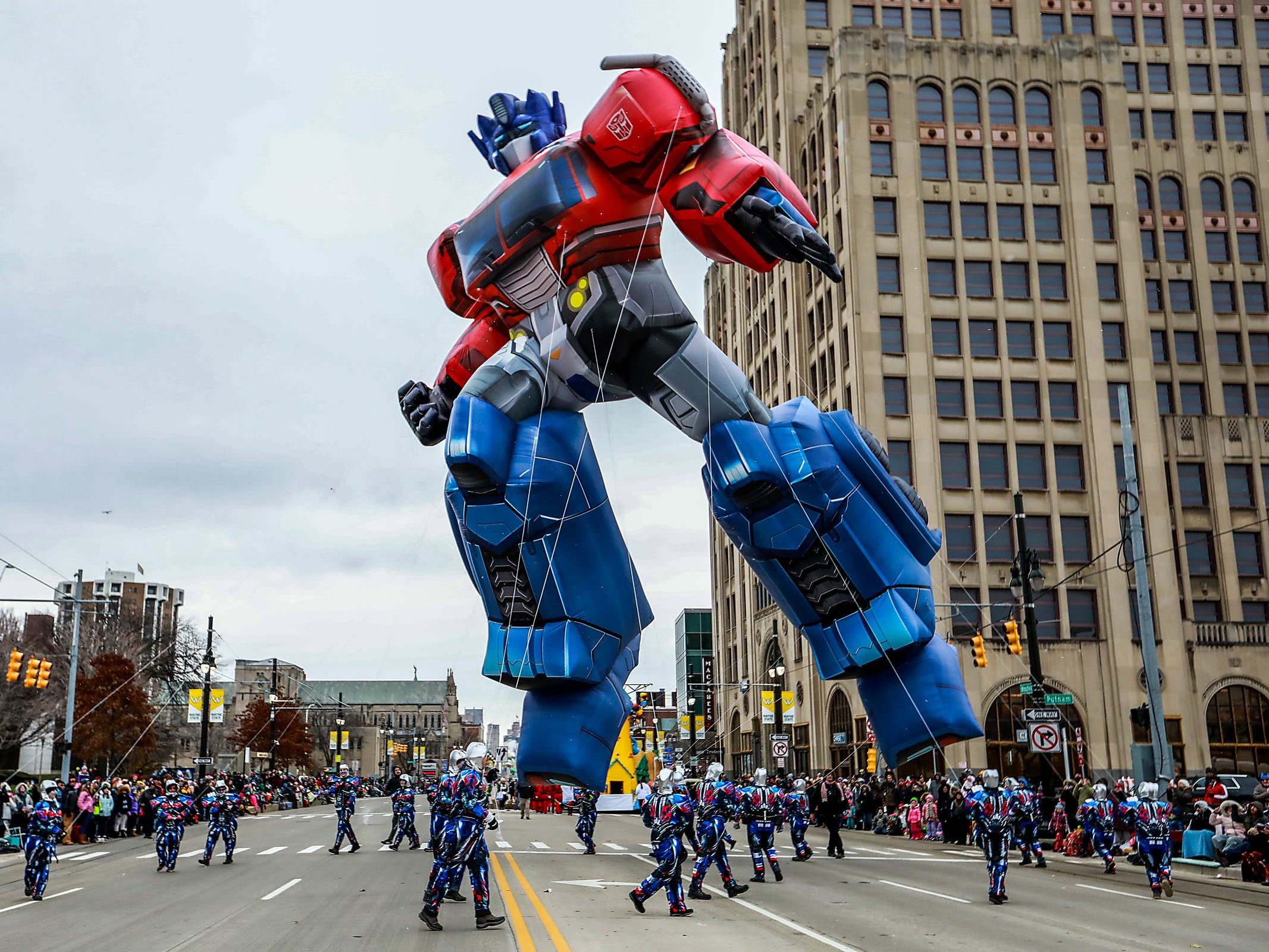The Optimus Prime Transformer float is turned in a circle to the delight of the crowds, during America's Thanksgiving Parade in Detroit on Thursday, Nov. 22, 2018.