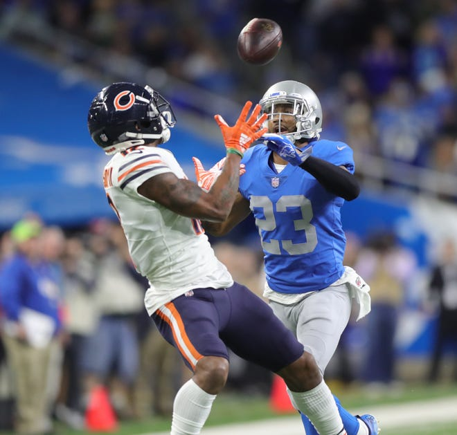 Lions defensive back Darius Slay defends against Bears receiver Joshua Bellamy during the first half on Thursday, Nov. 22, 2018, at Ford Field.