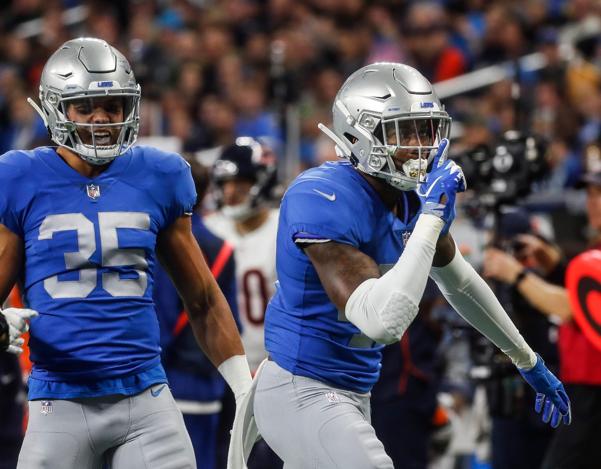 Lions defensive back Tracy Walker celebrates a tackle against Bears during the second half of the Lions' 23-16 loss to the Bears on Thursday, Nov. 22, 2018, at Ford Field.