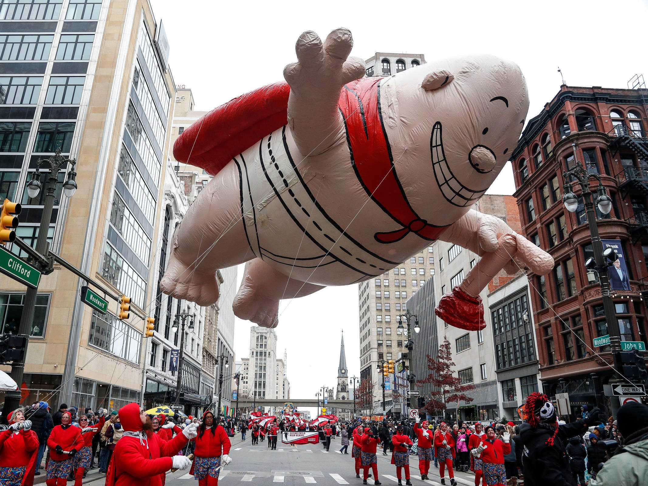 Captain Underpants float makes its way down Woodward Avenue during the 92nd America's Thanksgiving Day Parade in Detroit, Thursday, Nov. 22, 2018.