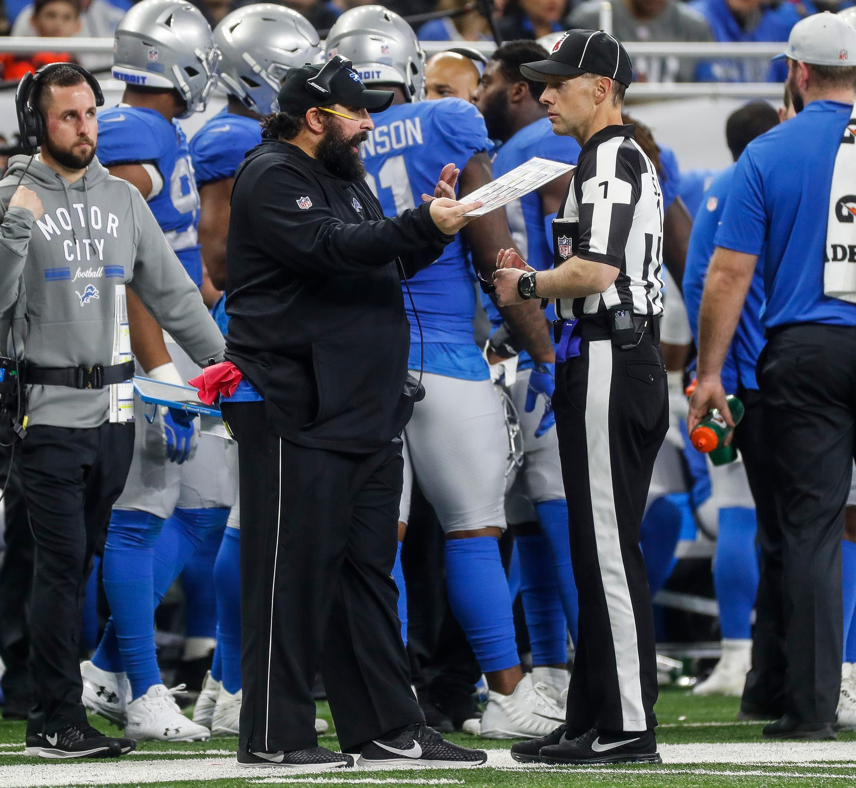Lions head coach Matt Patricia talks to an official during the second half of the Lions' 23-16 loss to the Bears on Thursday, Nov. 22, 2018, at Ford Field.
