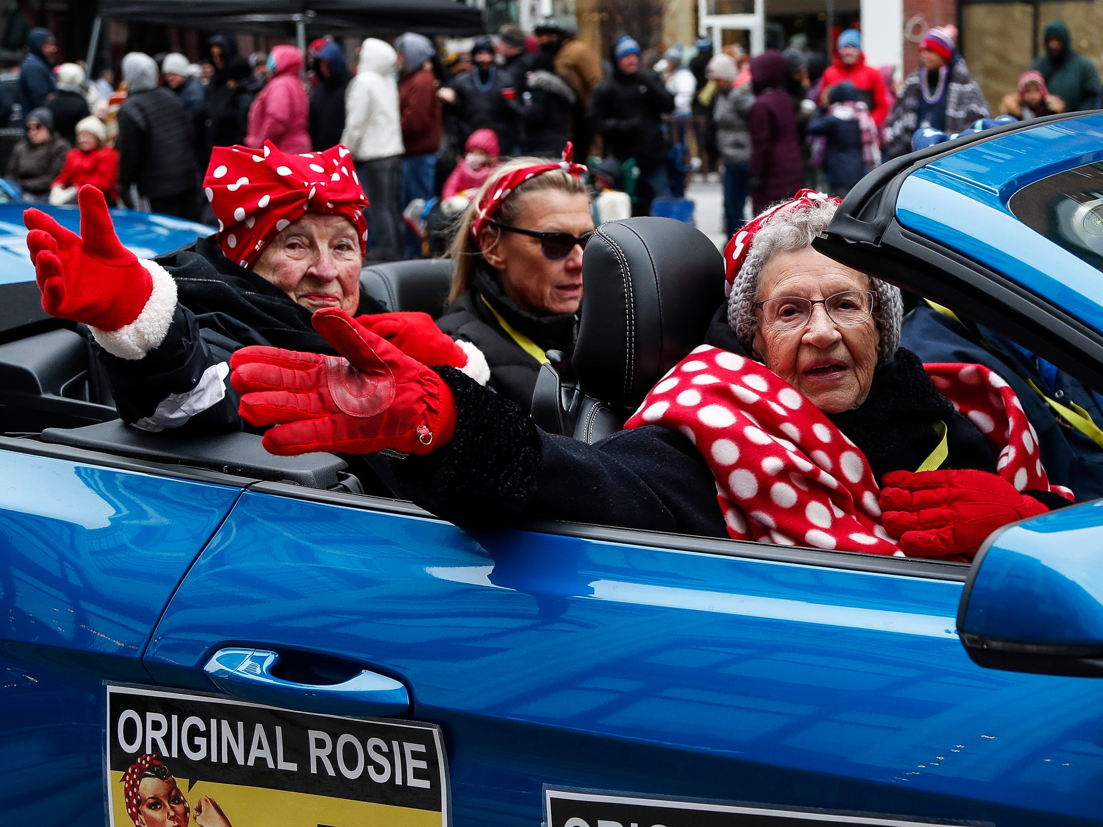 Original Rosie the Riveters Flo McCarty, left, and Ethel Ciszewicz are honored during the 92nd America's Thanksgiving Day Parade in Detroit, Thursday, Nov. 22, 2018.