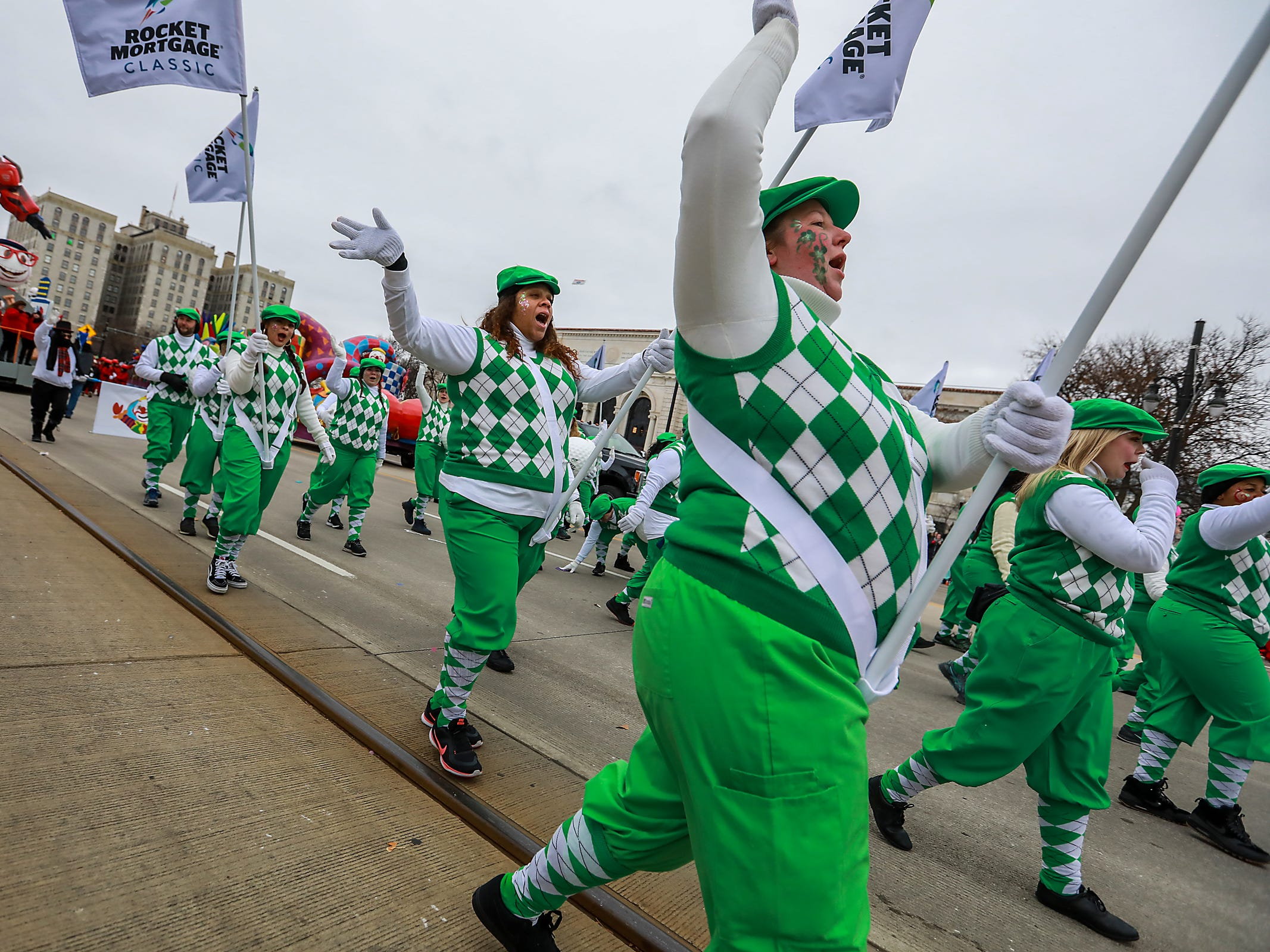 Parade marchers with Rocket Mortgage participate in America's Thanksgiving Parade in Detroit on Thursday, Nov. 22, 2018.