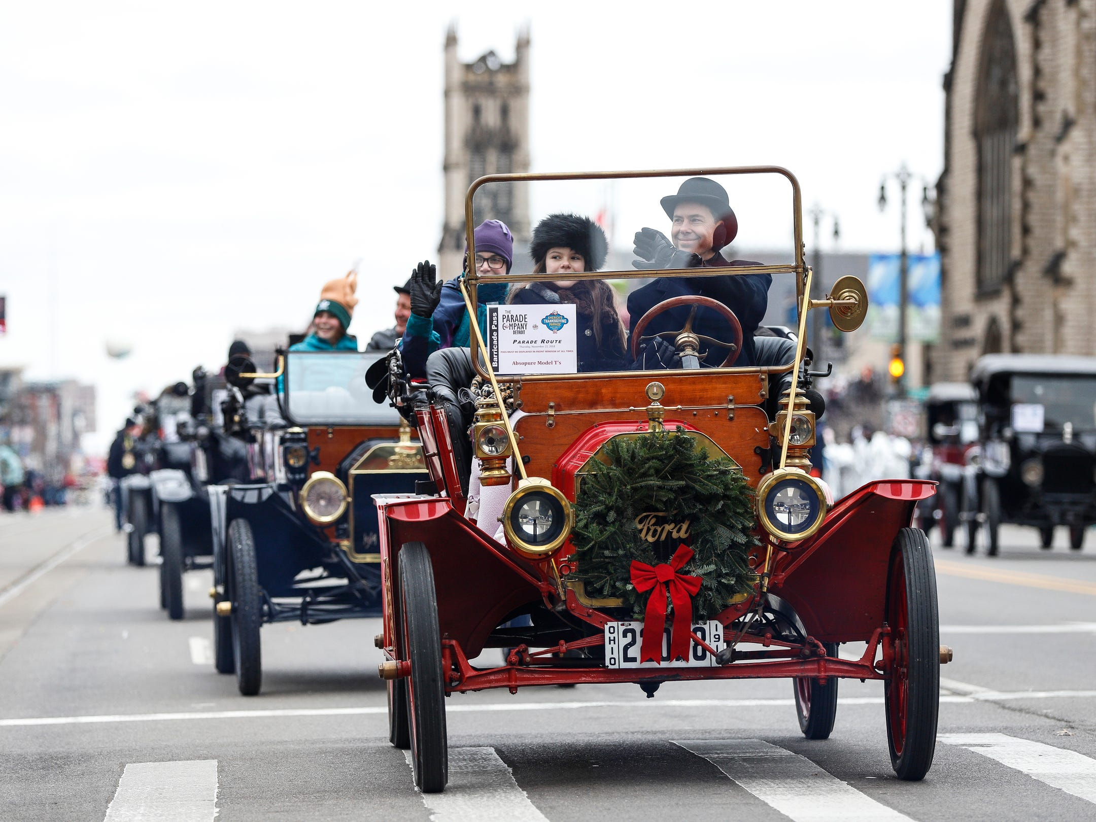 Parade participants make their way down Woodward Avenue during the 92nd America's Thanksgiving Day Parade in Detroit, Thursday, Nov. 22, 2018.