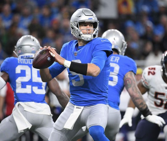 Lions quarterback Matthew Stafford drops back to pass during the first quarter against the Chicago Bears on Thursday, Nov. 22, 2018, at Ford Field.