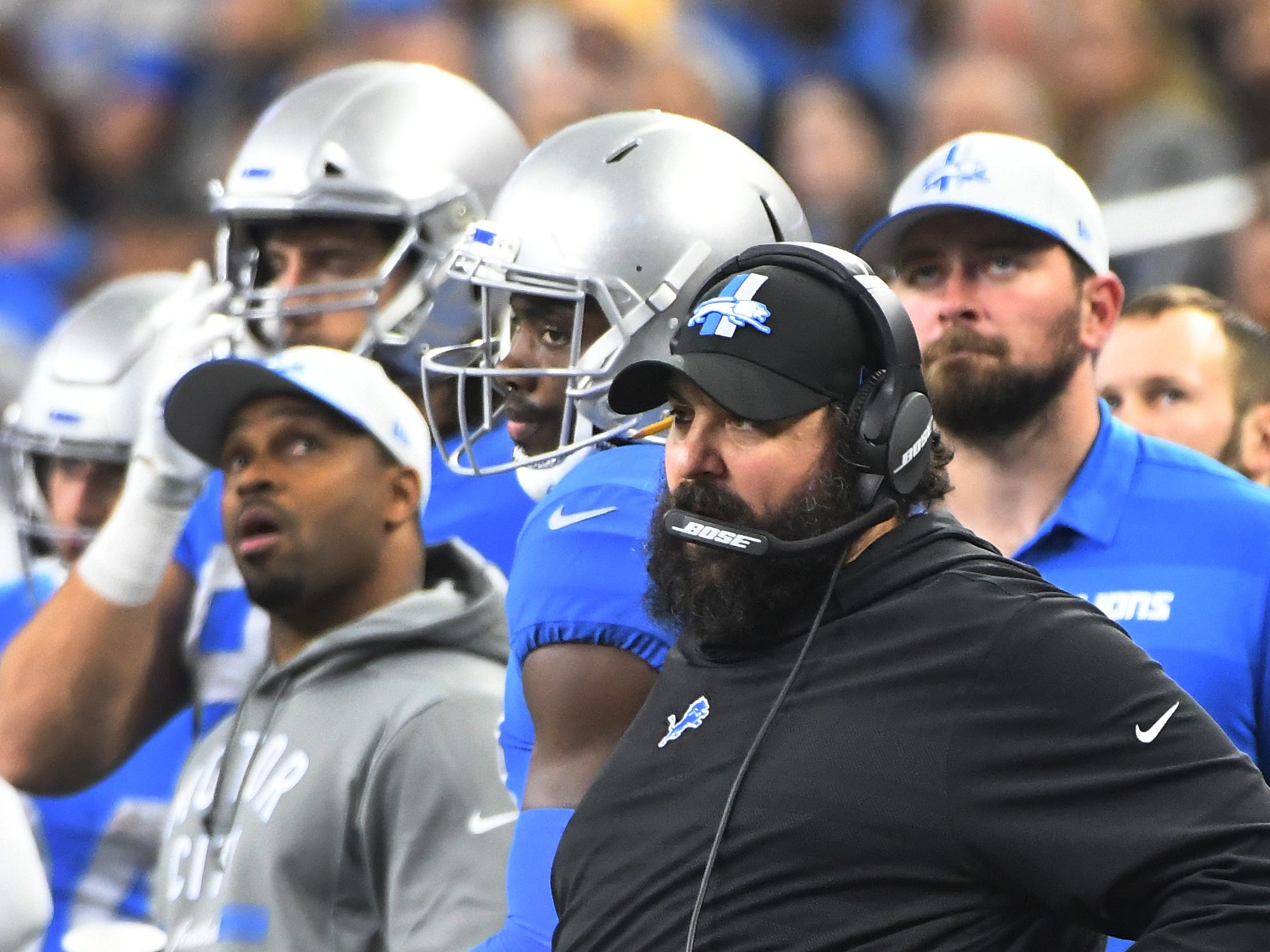 Lions coach Matt Patricia on the sidelines in the first half.