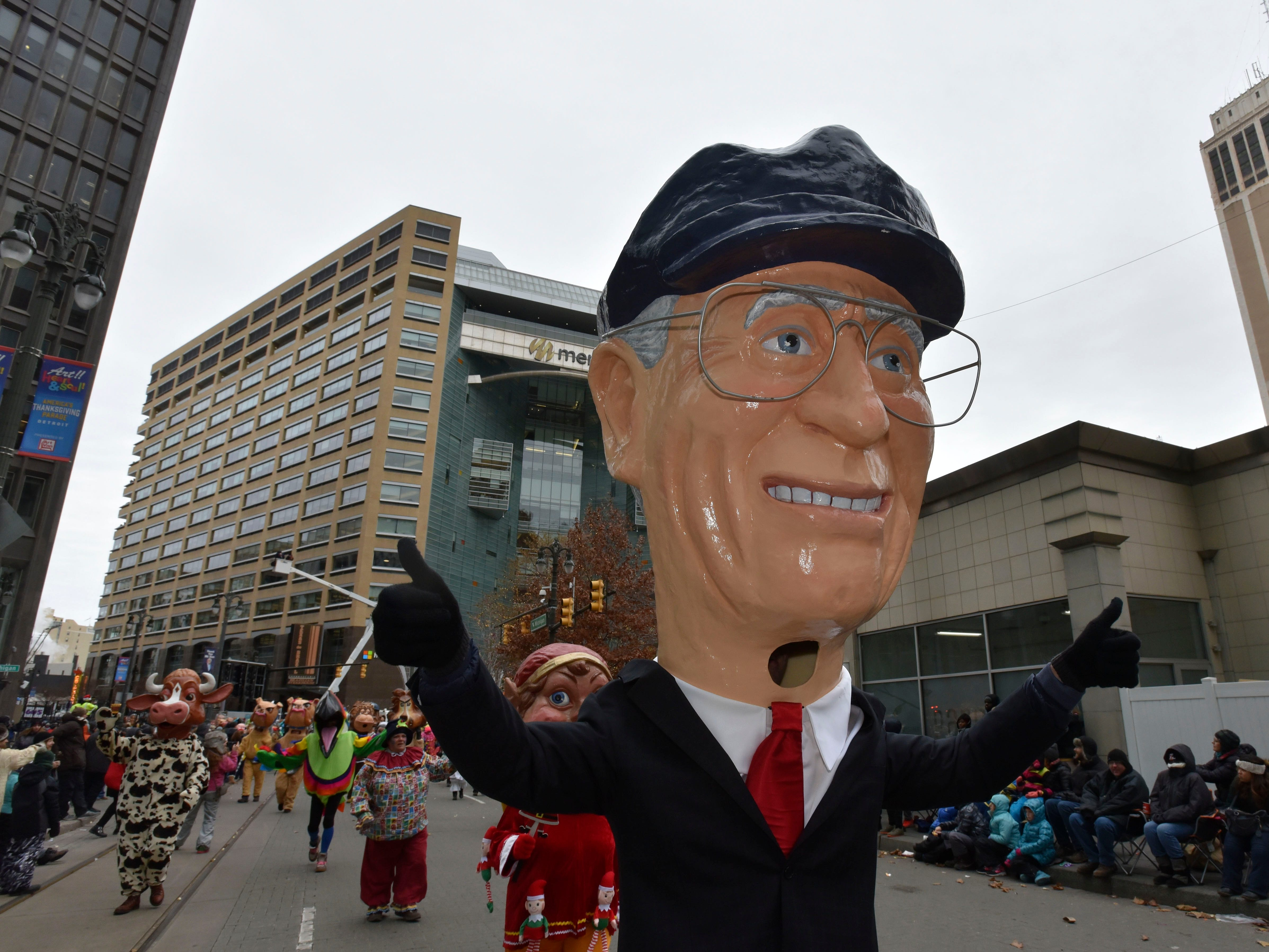 Ernie Harwell is one of 80 paper mache heads from the Big Head Corps.