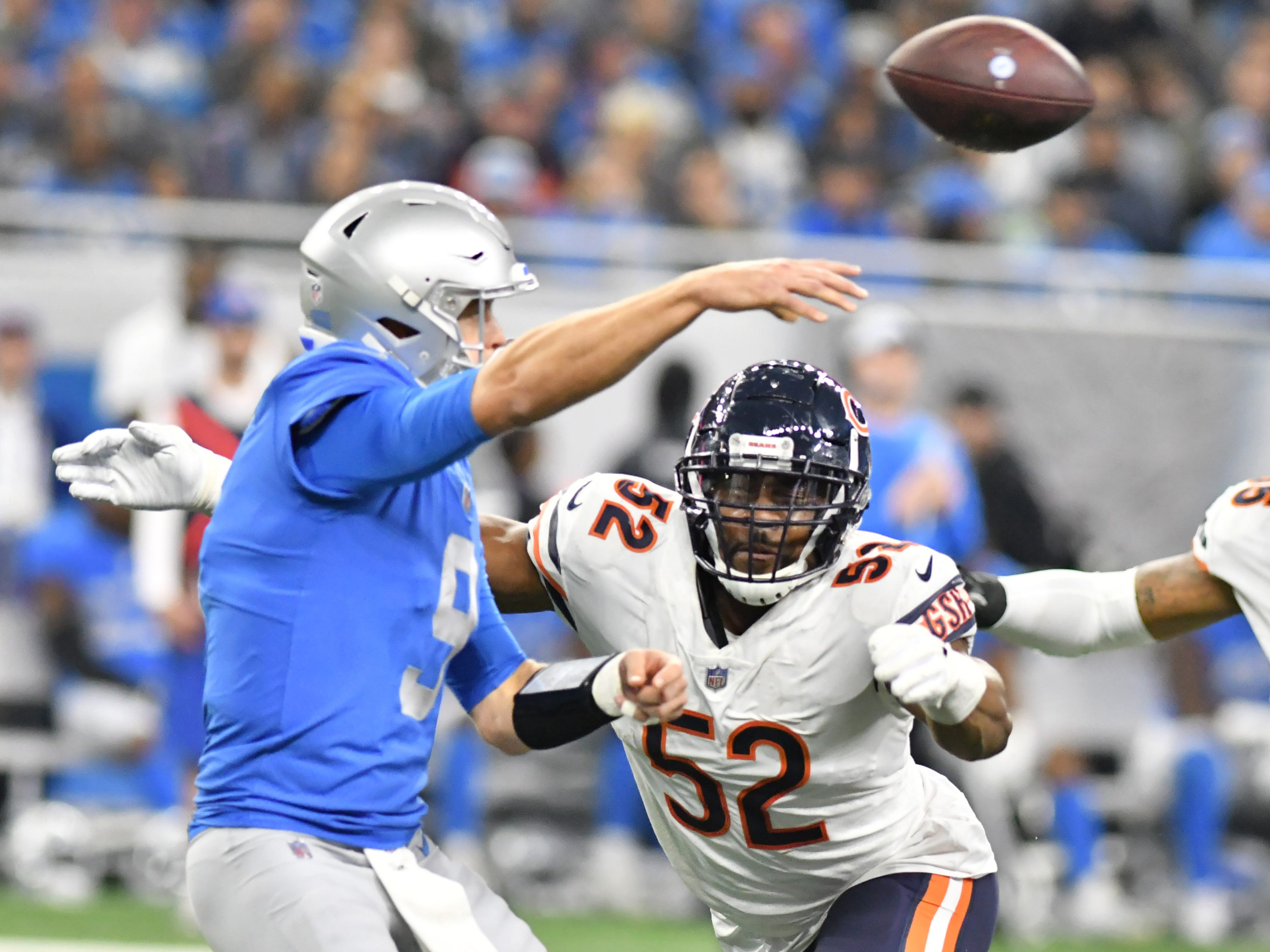 The Bears' Khalil Mack comes in to pressure Lions quarterback Matthew Stafford In the fourth quarter.