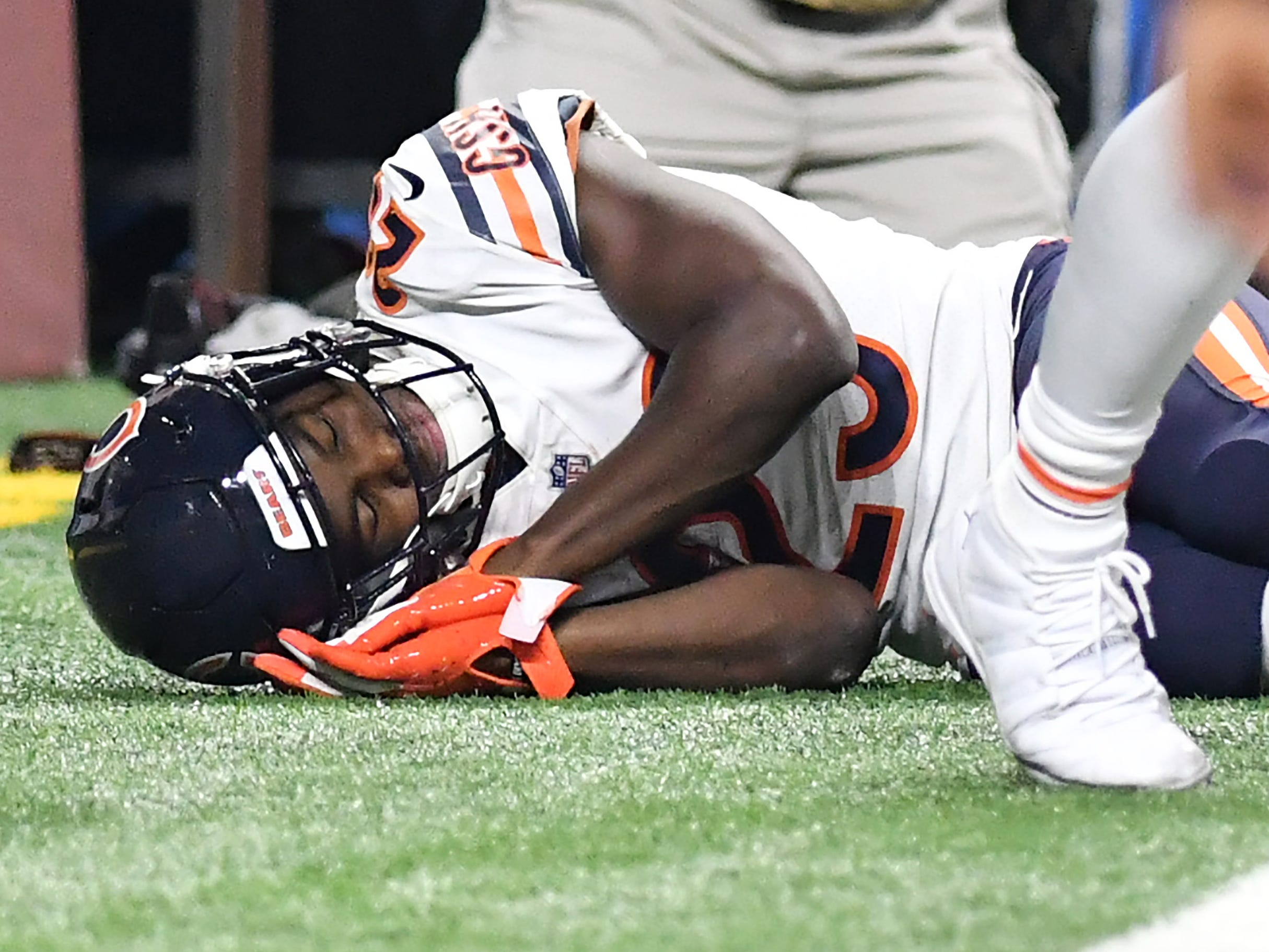 Bears' Tarik Cohen acts out taking a nap as part of his post touchdown celebration In the fourth quarter.