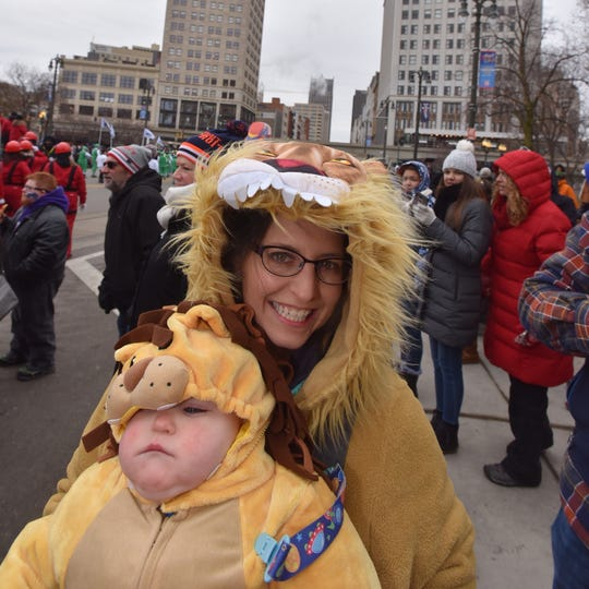 Jessica Konopka and her 11 month old son Patrick, both of Northville and both dressed for the cold.
