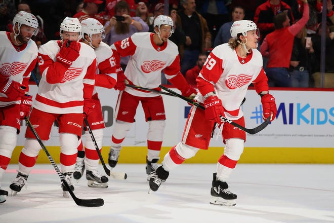 Tyler Bertuzzi of the Detroit Red Wings celebrates his second-period goal with teammates on Wednesday night.