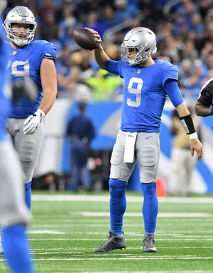 Lions quarterback Matthew Stafford reacts after a delay of game penalty In the second quarter.