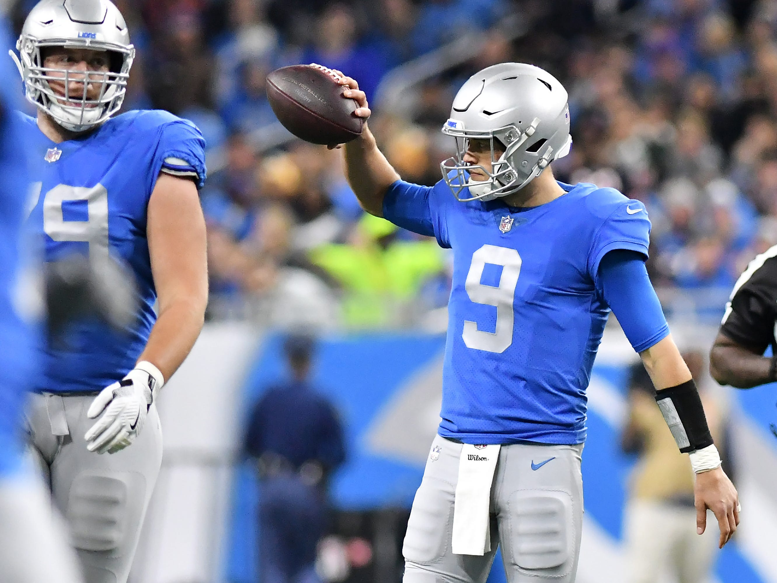Lions quarterback Matthew Stafford reacts after a delay of game penalty In the second quarter. Detroit Lions vs Chicago Bears on Thanksgiving Day at Ford Field in Detroit on Nov. 22, 2018. (Robin Buckson / Detroit News)