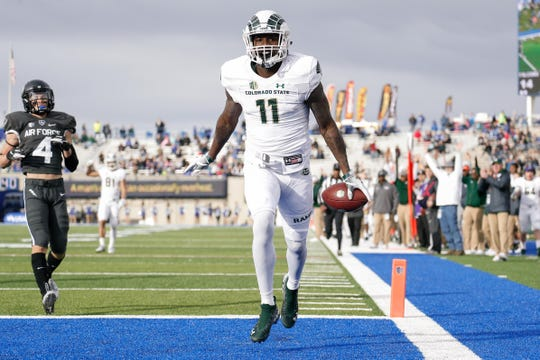 Preston Williams, who had one of the best seasons every by a CSU receiver, scores a touchdown in a Nov. 22, 2018, game at Air Force. Williams is expected to be the first Colorado State University player selected in this year's NFL draft, which begins Thursday.
