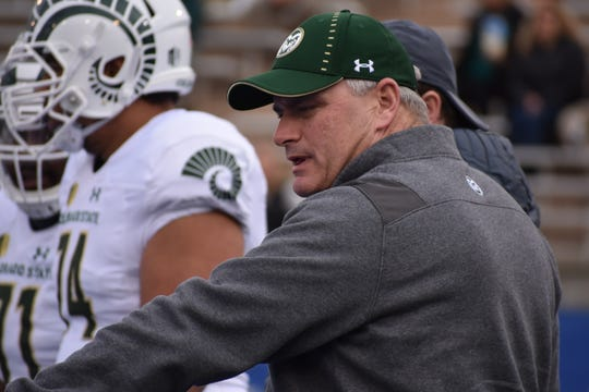 The CSU football team picked up a commitment from an offensive lineman on Wednesday. He's the fourth recruit in the 2019 class for offensive line coach Dave Johnson, pictured, to work with.