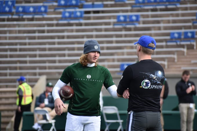 CSU punter Ryan Stonehouse during warmups before playing Air Force at Falcon Stadium on Thursday.