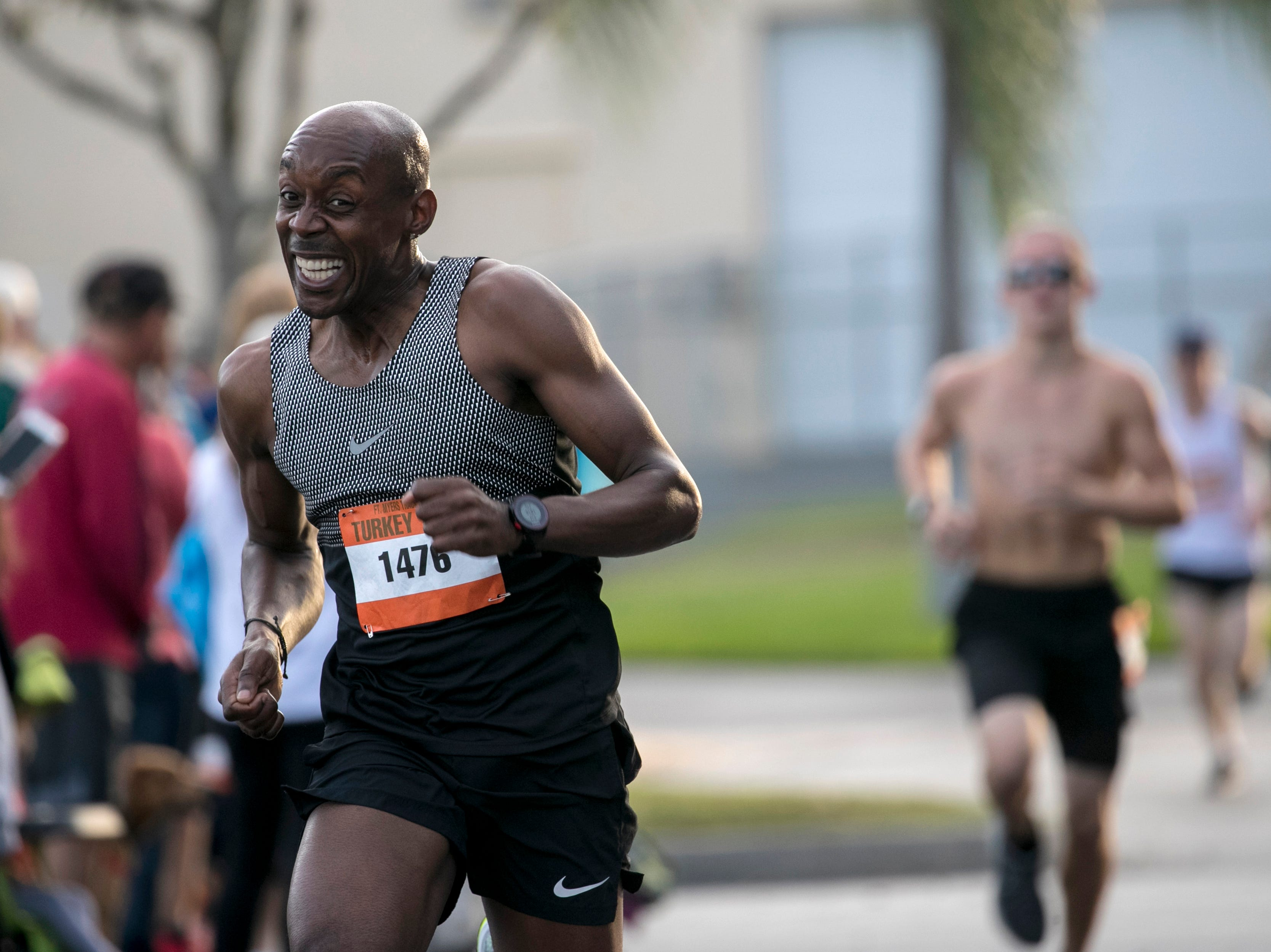 Gregory Adman pushes toward the finish in the 39th Annual Turkey Trot 5K Run/Walk on Thursday, November 22, 2018, in Cape Coral.