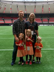 The family of Travis and Kim Lulay includes daughters. The former Montana State star lives in Blaine, Wash., and just completed his 10th season with the B.C. Lions of the Canadian Football League.