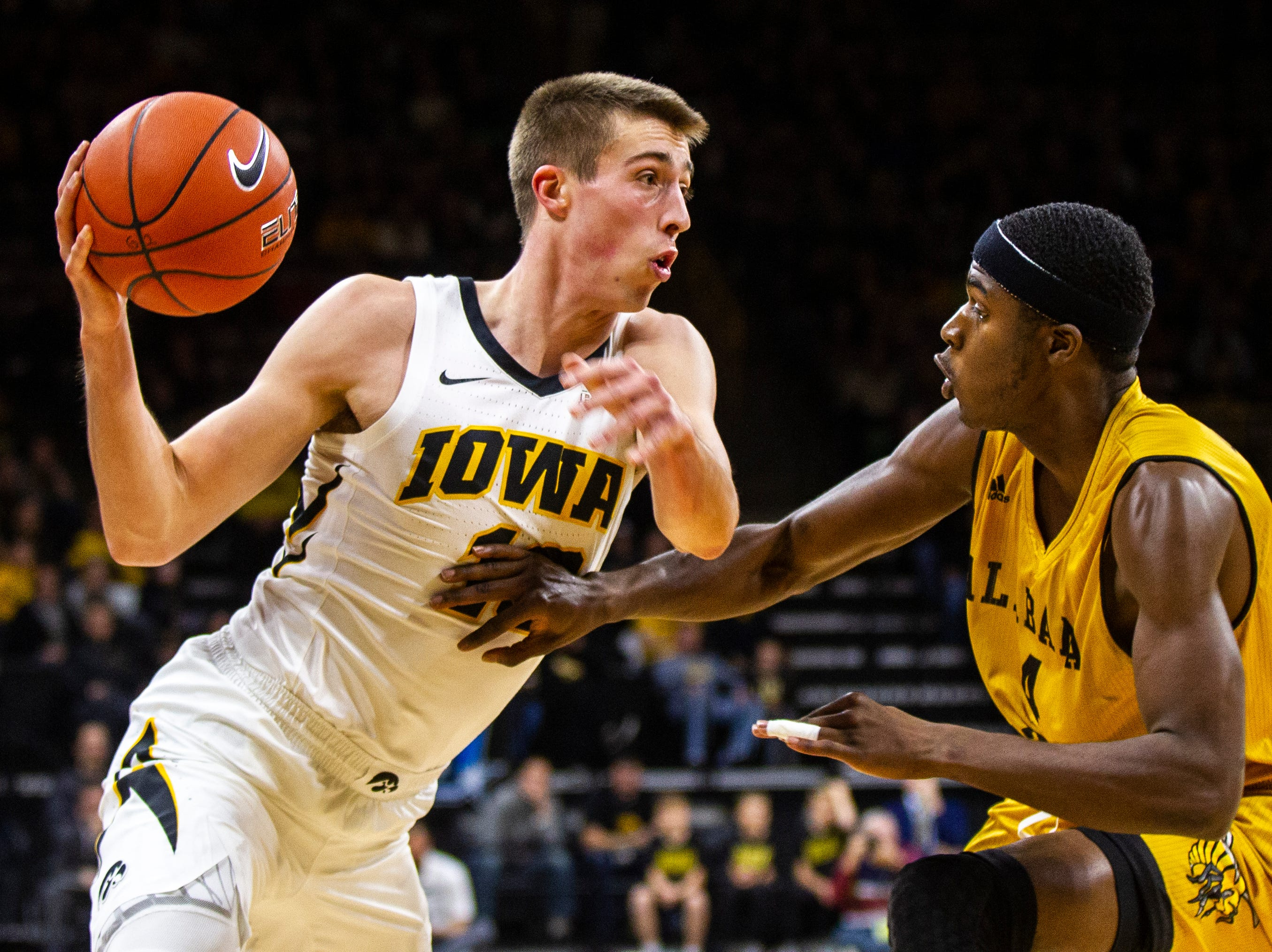 Iowa guard Joe Wieskamp (10) drives to the hoop past Alabama State's Leon Daniels (4) during an NCAA men's basketball game on Wednesday, Nov. 21, 2018, at Carver-Hawkeye Arena in Iowa City.
