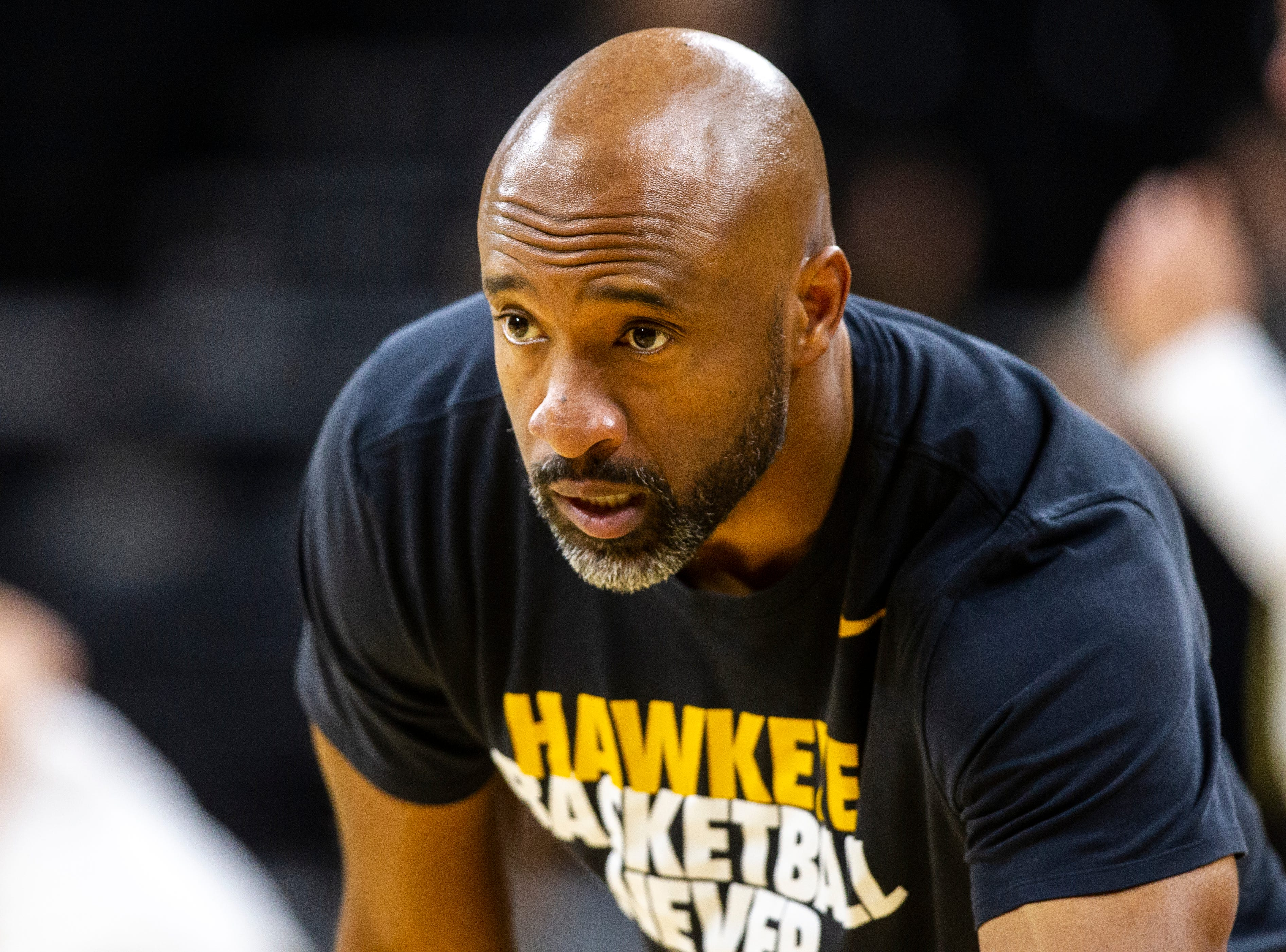 Iowa assistant coach Andrew Francis is seen before an NCAA men's basketball game on Wednesday, Nov. 21, 2018, at Carver-Hawkeye Arena in Iowa City.