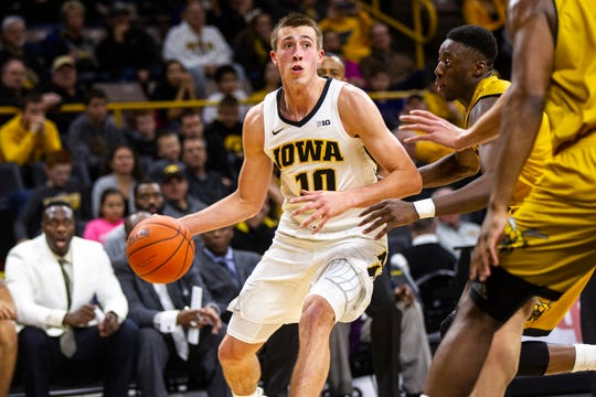 Iowa guard Joe Wieskamp (10) drives to the hoop during an NCAA men's basketball game on Wednesday, Nov. 21, 2018, at Carver-Hawkeye Arena in Iowa City.