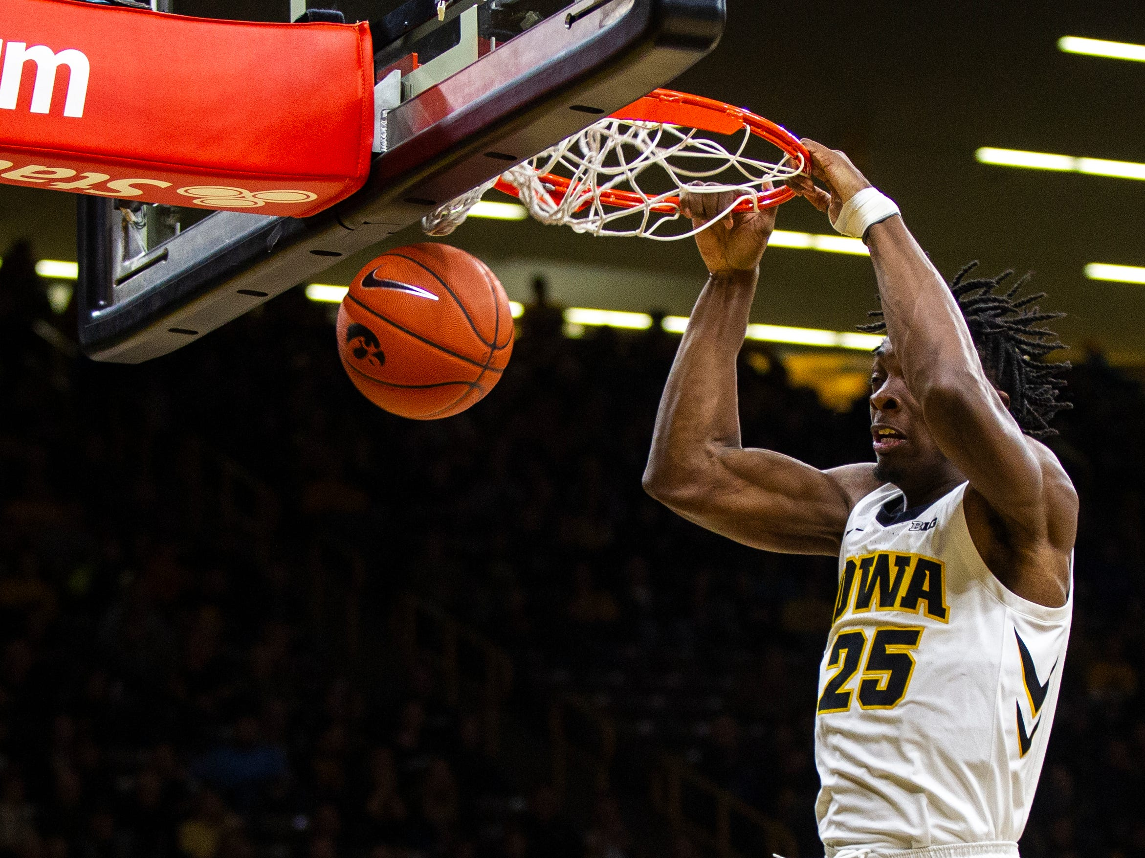 Iowa forward Tyler Cook (25) dunks during an NCAA men's basketball game on Wednesday, Nov. 21, 2018, at Carver-Hawkeye Arena in Iowa City.