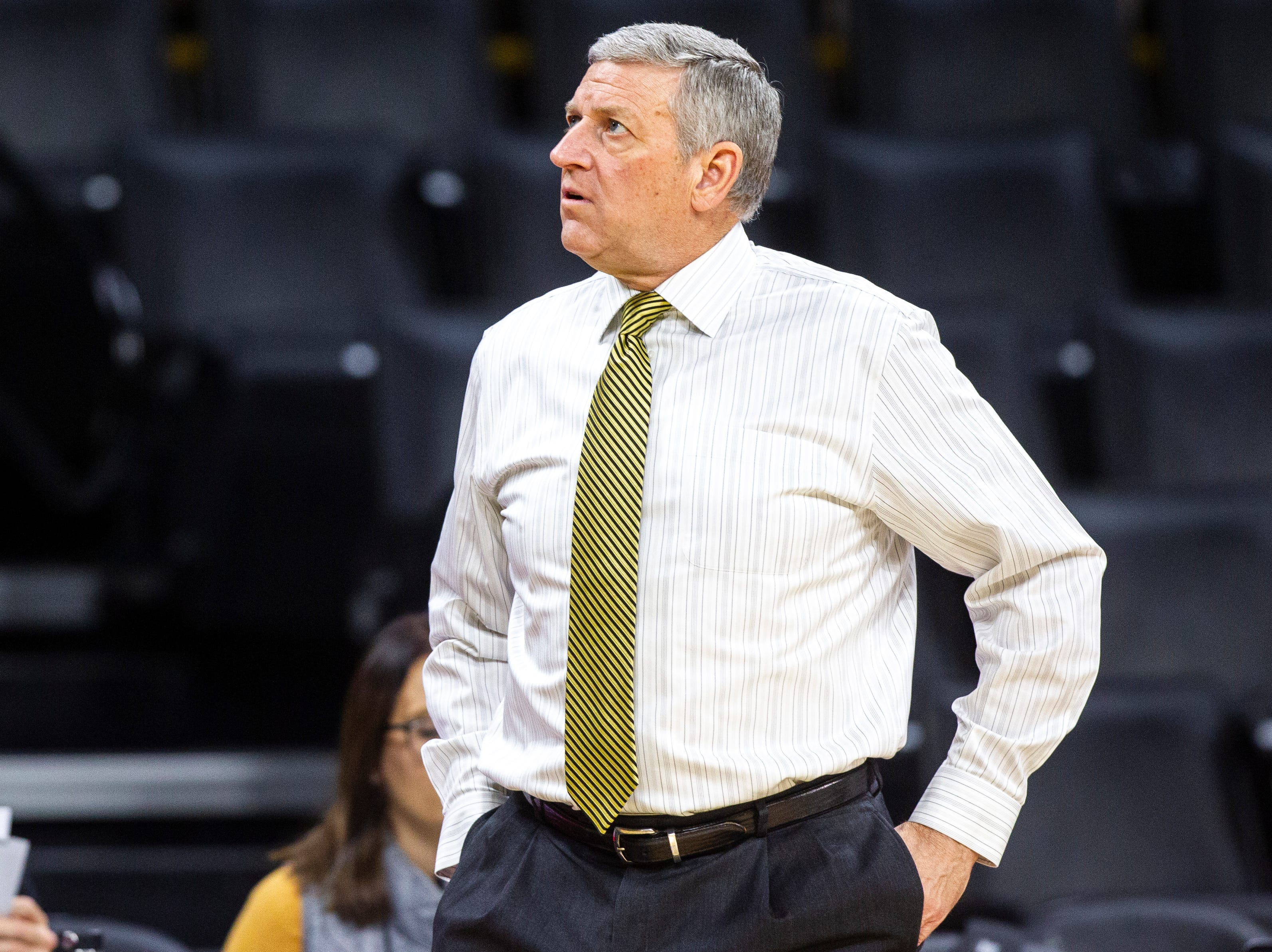 Iowa assistant coach Kirk Speraw is seen before an NCAA men's basketball game on Wednesday, Nov. 21, 2018, at Carver-Hawkeye Arena in Iowa City.