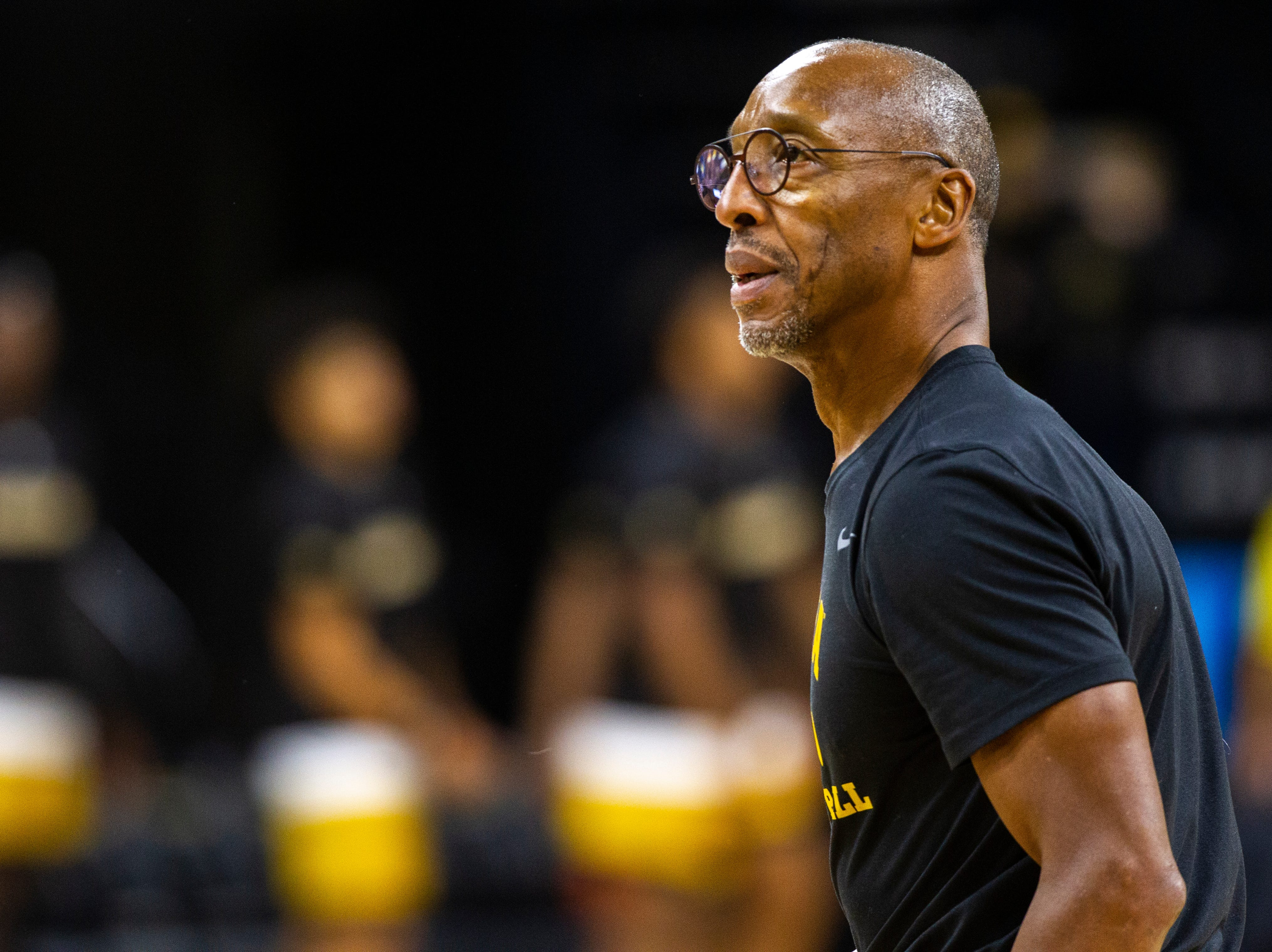 Iowa assistant coach Sherman Dillard is seen before an NCAA men's basketball game on Wednesday, Nov. 21, 2018, at Carver-Hawkeye Arena in Iowa City.