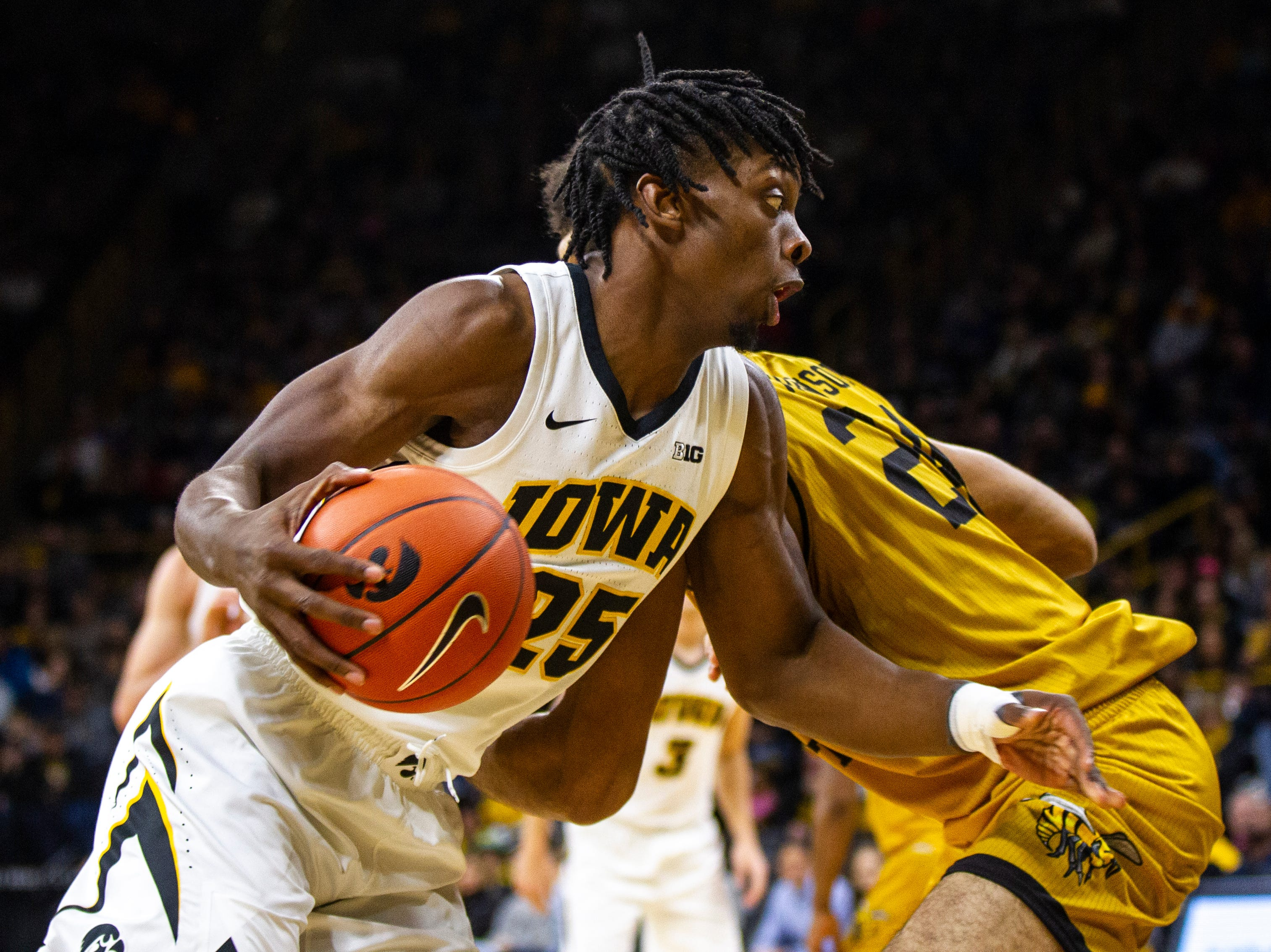 Iowa forward Tyler Cook (25) drives to the hoop during an NCAA men's basketball game on Wednesday, Nov. 21, 2018, at Carver-Hawkeye Arena in Iowa City.