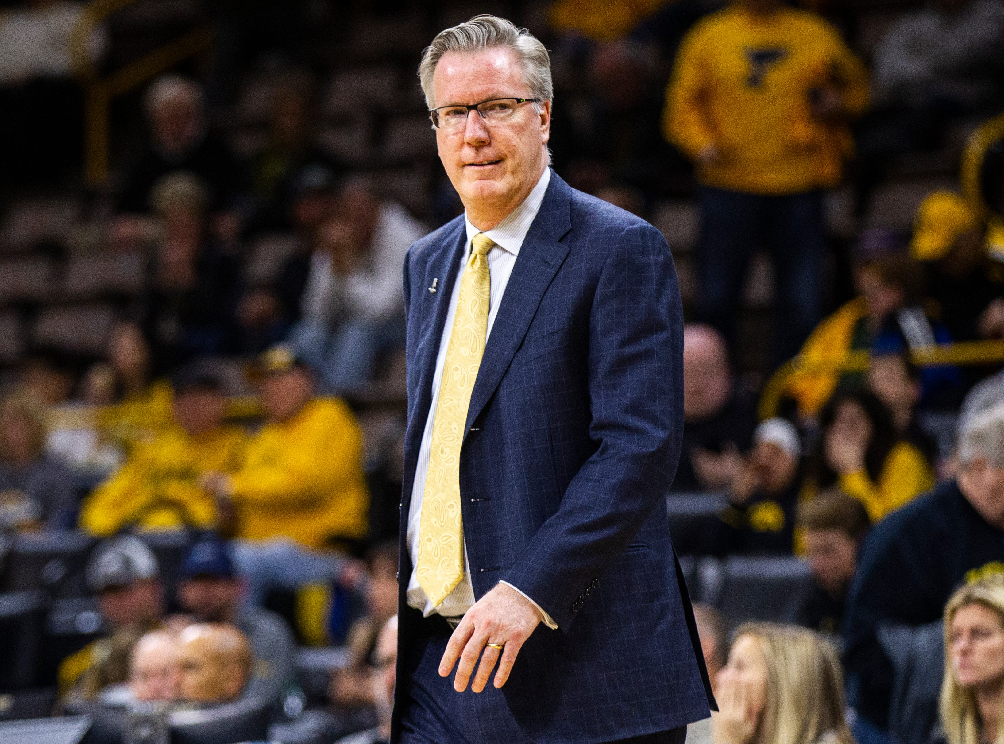 Iowa men's basketball head coach Fran McCaffery looks on during an NCAA men's basketball game on Wednesday, Nov. 21, 2018, at Carver-Hawkeye Arena in Iowa City.
