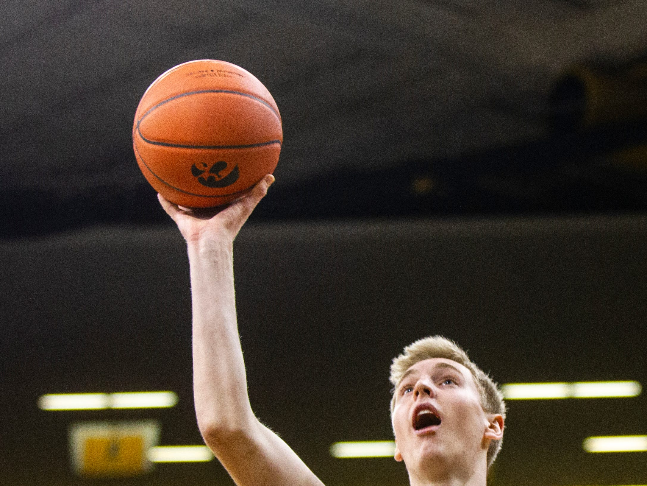 Iowa forward Michael Baer (0) attempts a shot during an NCAA men's basketball game on Wednesday, Nov. 21, 2018, at Carver-Hawkeye Arena in Iowa City.