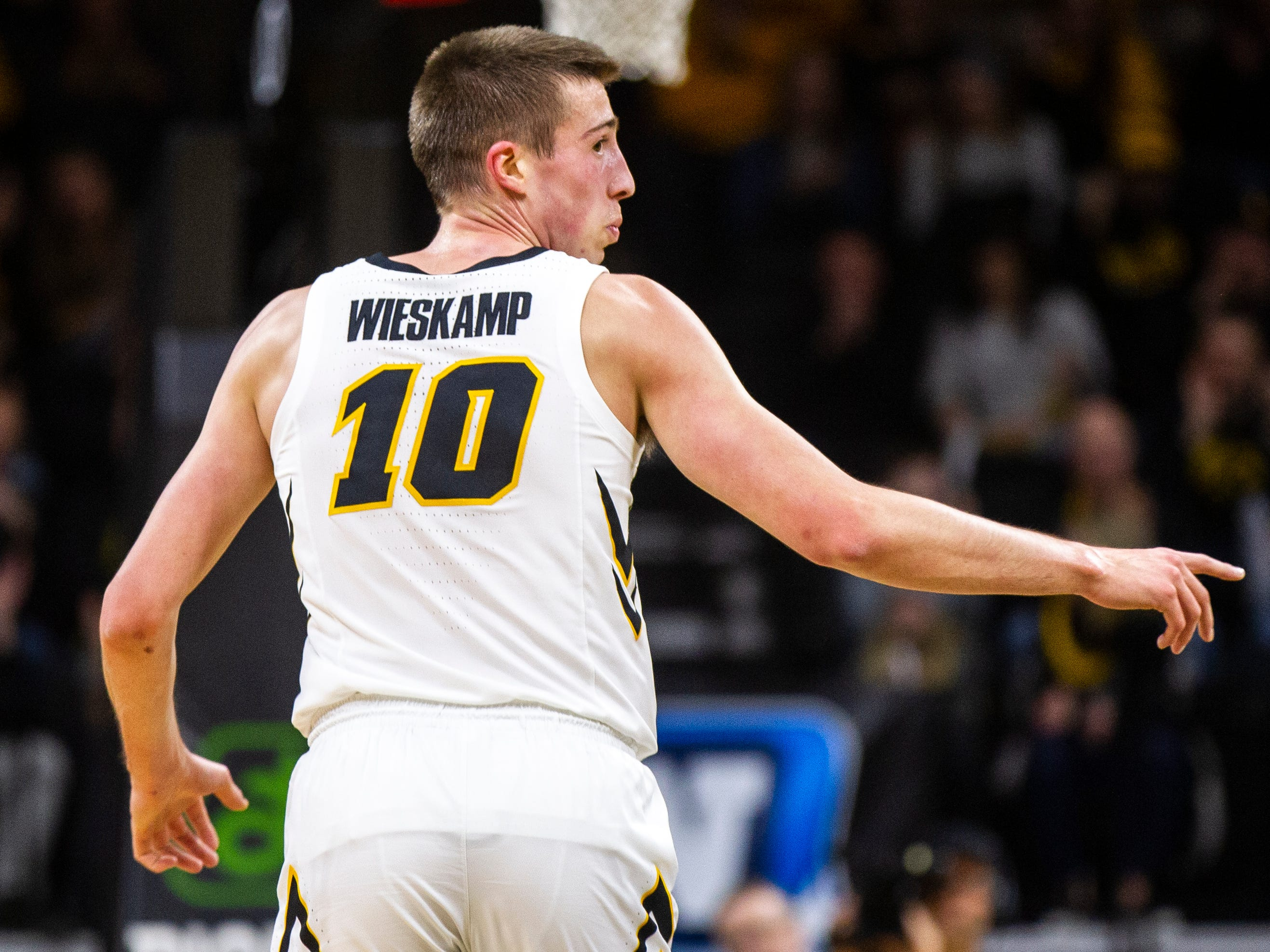 Iowa guard Joe Wieskamp (10) gestures after making a shot during an NCAA men's basketball game on Wednesday, Nov. 21, 2018, at Carver-Hawkeye Arena in Iowa City.