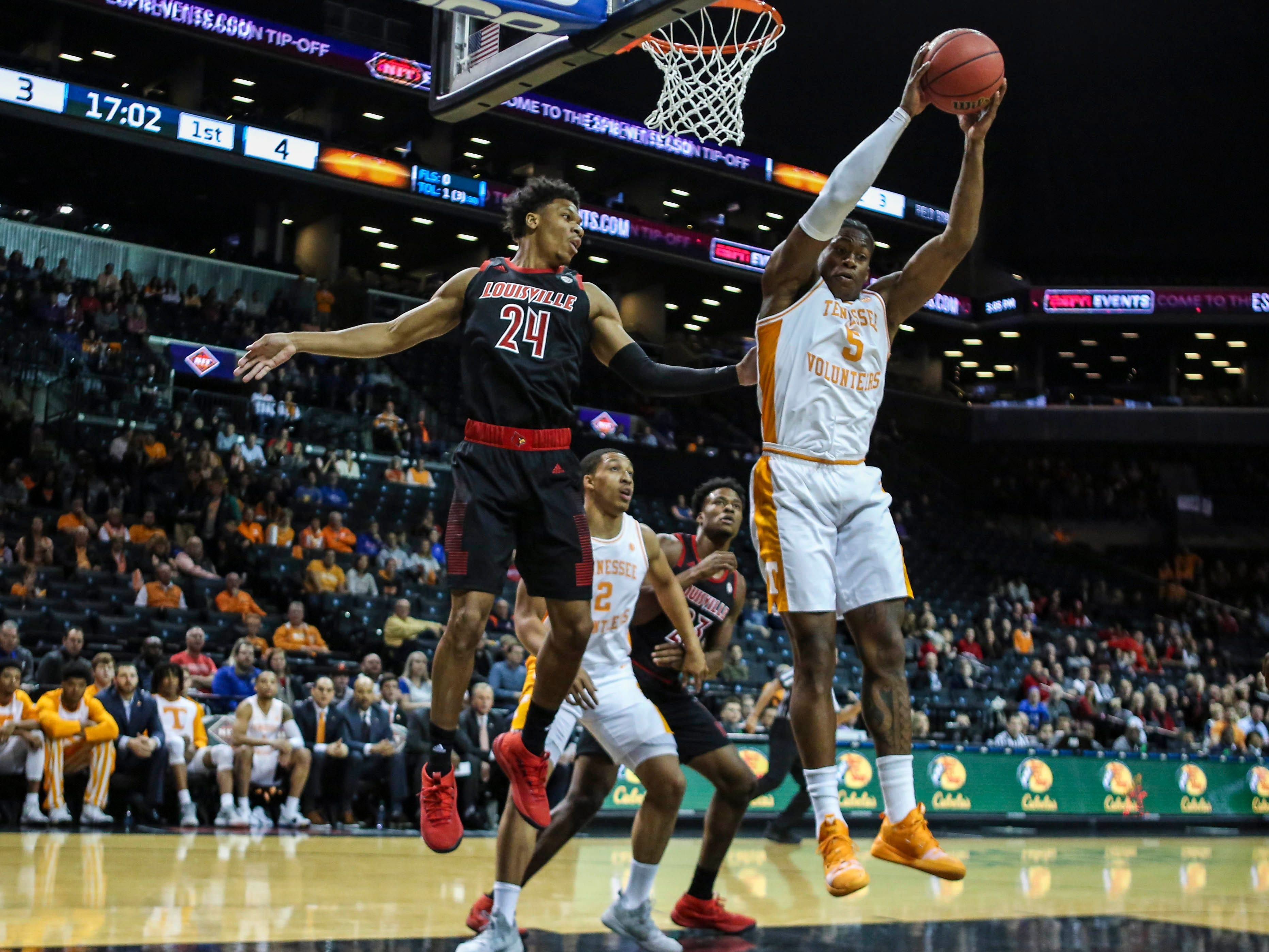 Nov 21, 2018; Brooklyn, NY, USA; Tennessee Volunteers guard Admiral Schfield (5) grabs a rebound in the first half against the Louisville Cardinals during the NIT Tipoff at Barclays Center. Mandatory Credit: Wendell Cruz-USA TODAY Sports