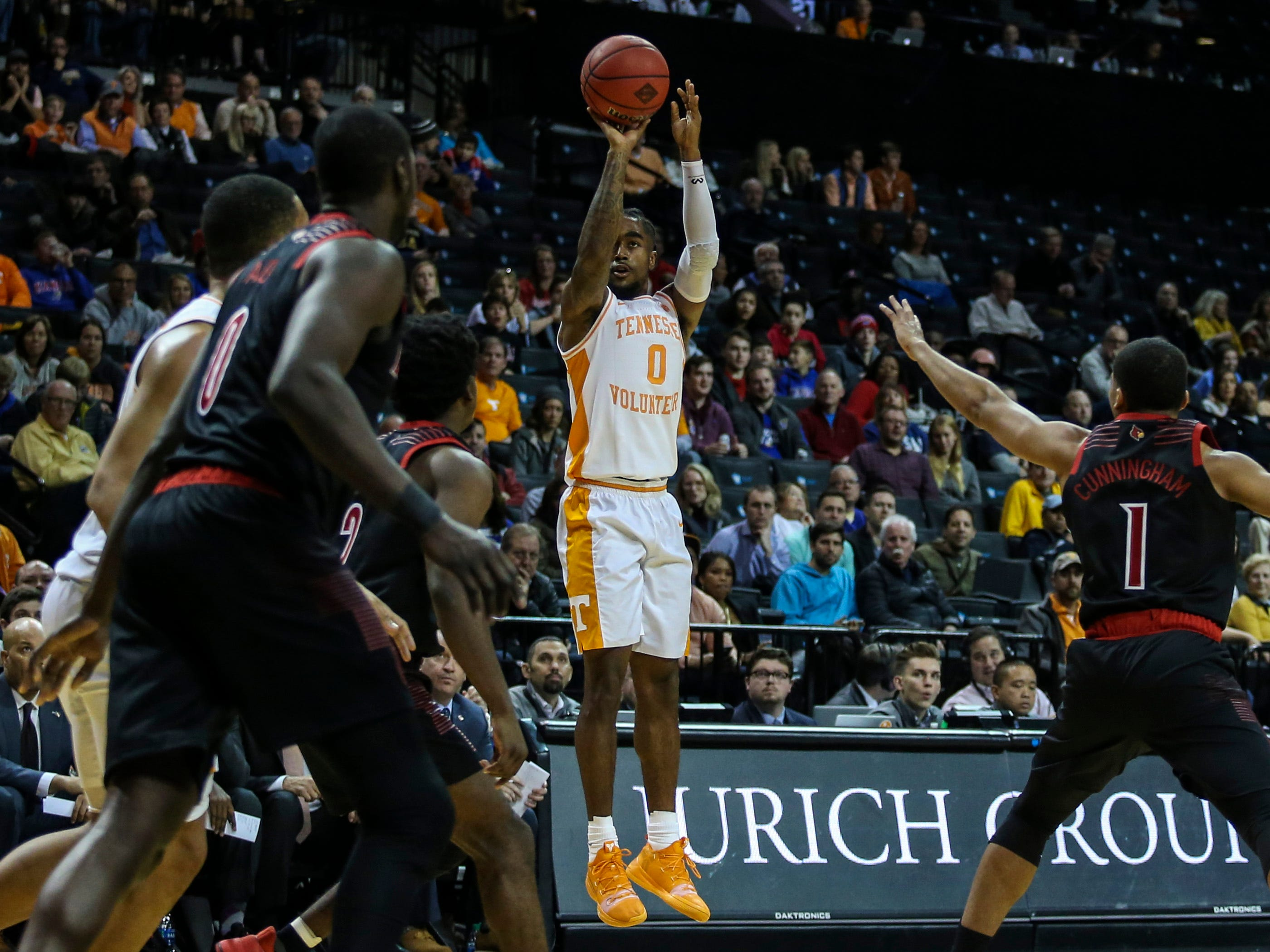 Nov 21, 2018; Brooklyn, NY, USA; Tennessee Volunteers guard Jordan Bone (0) takes a three point shot in the second half during the NIT Tipoff at Barclays Center. Mandatory Credit: Wendell Cruz-USA TODAY Sports