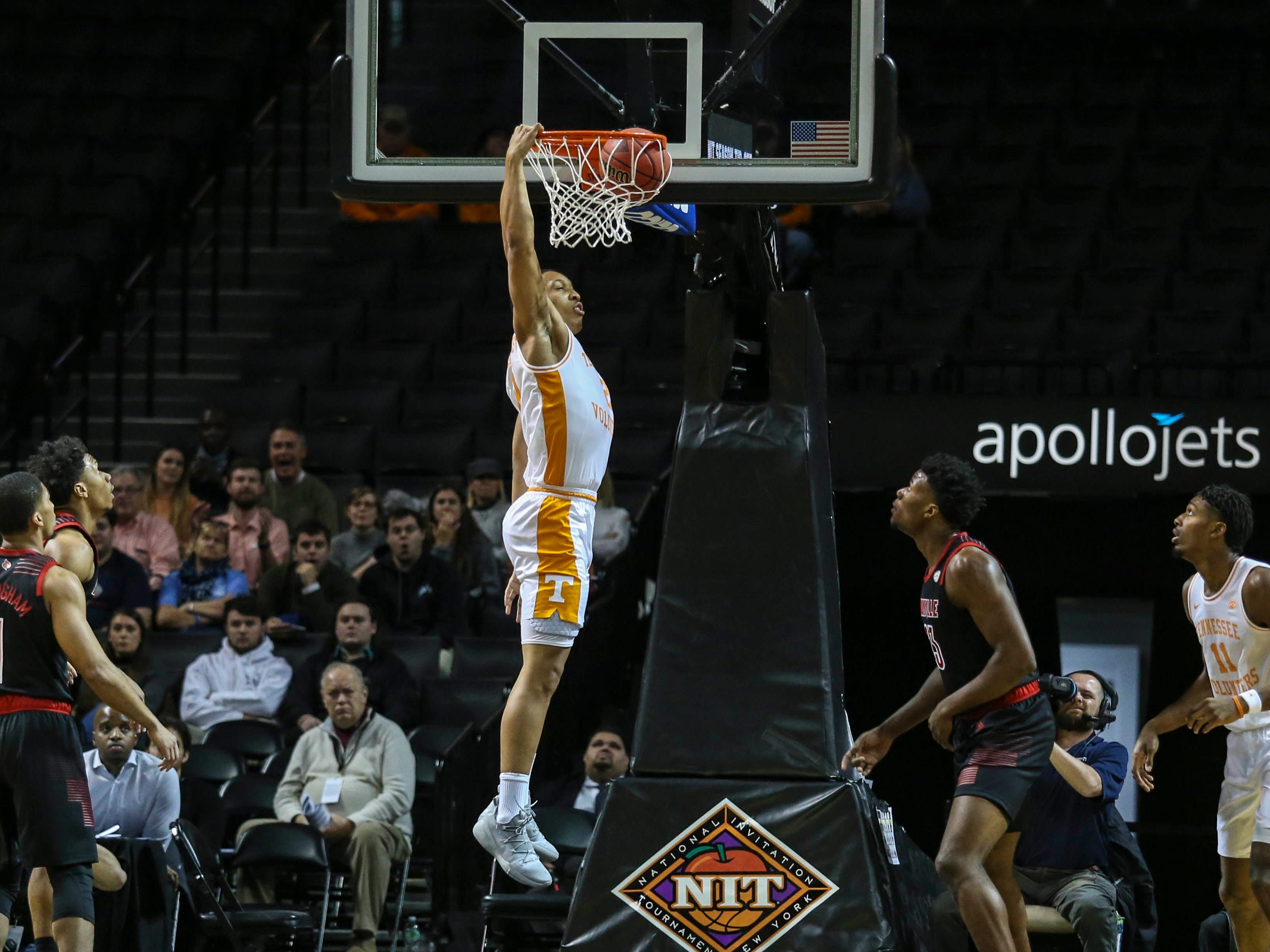 Nov 21, 2018; Brooklyn, NY, USA; Tennessee Volunteers forward Grant Williams (2) dunks in the first half against the Louisville Cardinals during the NIT Tip Off at Barclays Center. Mandatory Credit: Wendell Cruz-USA TODAY Sports