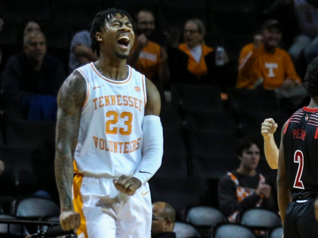 Nov 21, 2018; Brooklyn, NY, USA; Tennessee Volunteers guard Jordan Bowden (23) reacts after a call in the first half against the Louisville Cardinals during the NIT Tip Off at Barclays Center. Mandatory Credit: Wendell Cruz-USA TODAY Sports