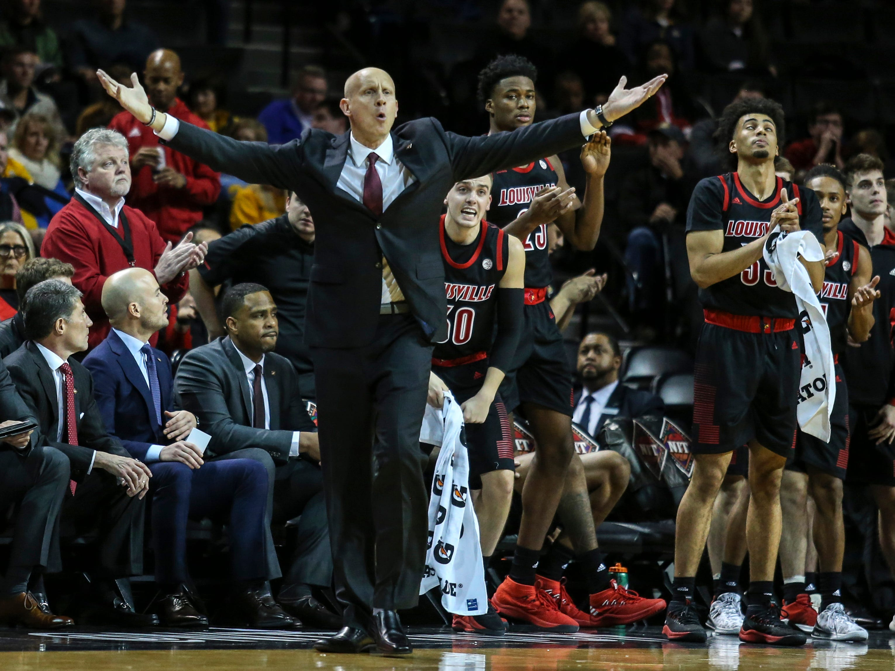 Nov 21, 2018; Brooklyn, NY, USA; Louisville Cardinals head coach Chris Mack reacts during a call against the Tennessee Volunteers in the second half during the NIT Tipoff at Barclays Center. Mandatory Credit: Wendell Cruz-USA TODAY Sports