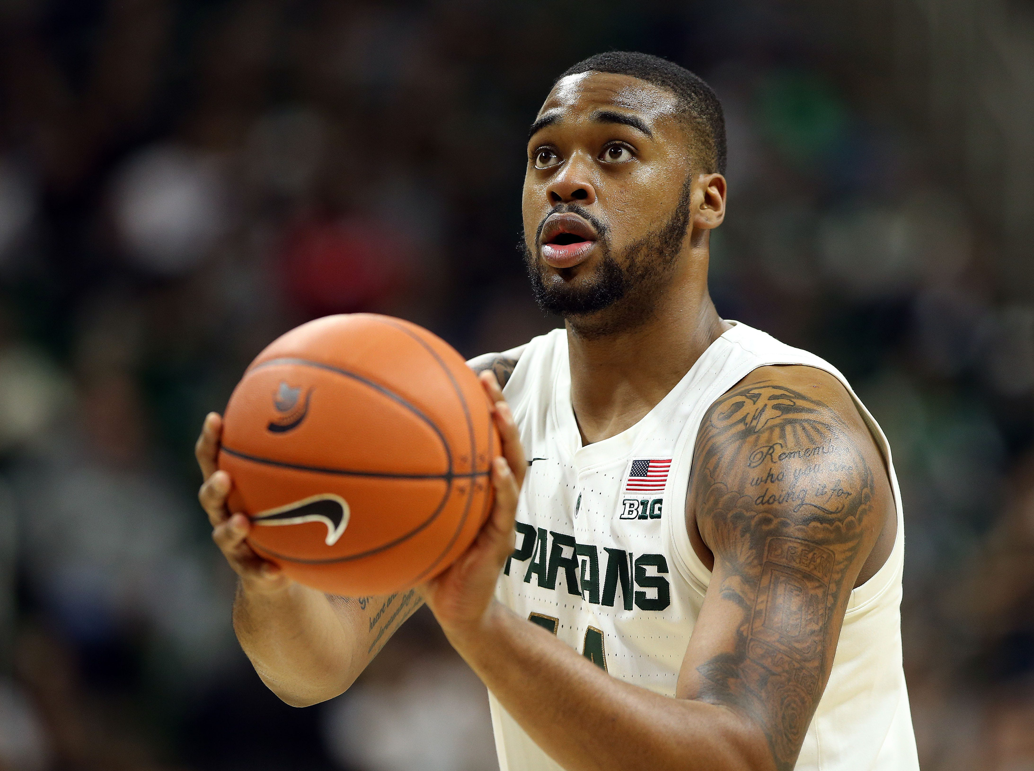 Nov 11, 2018; East Lansing, MI, USA; Michigan State Spartans forward Nick Ward (44) attempts a free throw during the second half of a game against the Florida Gulf Coast Eagles at the Breslin Center. Mandatory Credit: Mike Carter-USA TODAY Sports