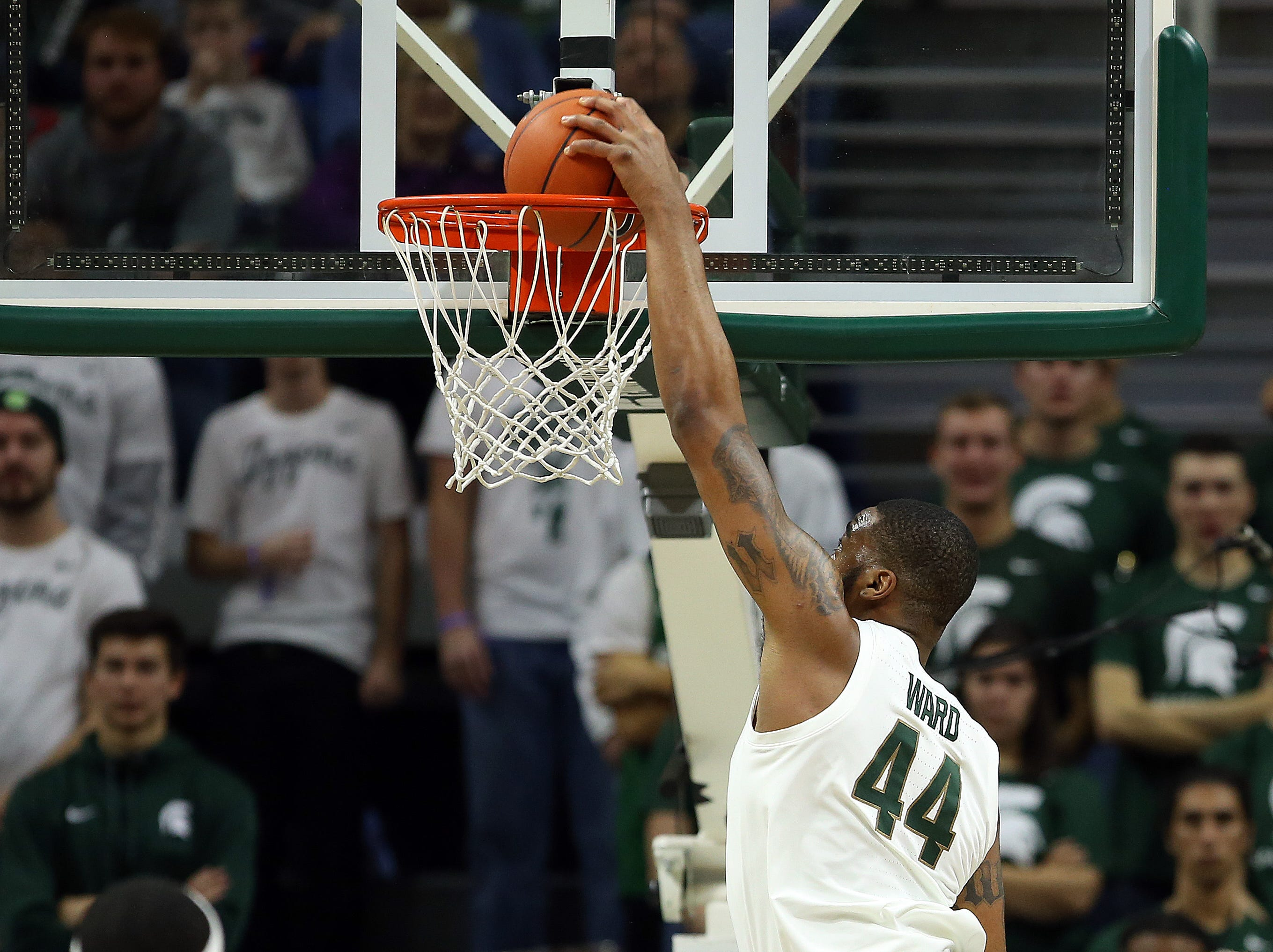 Nov 11, 2018; East Lansing, MI, USA; Michigan State Spartans forward Nick Ward (44) dunks the ball during the first half of a game against the Florida Gulf Coast Eagles at the Breslin Center. Mandatory Credit: Mike Carter-USA TODAY Sports