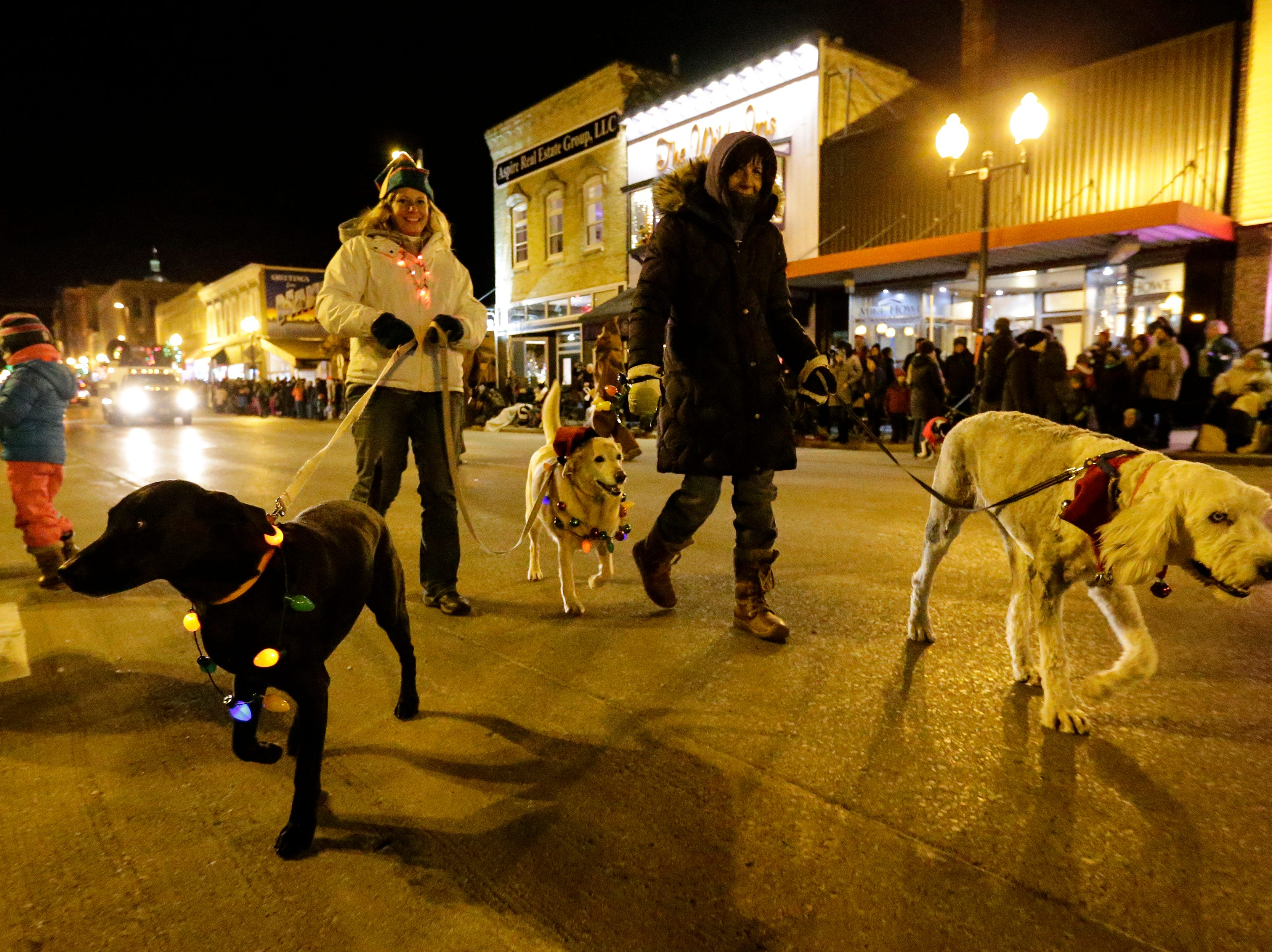"""Dogs march in the 30th Annual Lakeshore Holiday Parade Wednesday, November 21, 2018, in Manitowoc, Wis. This year's theme was """"Christmas Through the Decades."""" Joshua Clark/USA TODAY NETWORK-Wisconsin"""