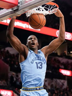 Jaren Jackson Jr. throws down a dunk against the Spurs on Nov. 21. The rookie has shown flashes of brilliance, but has also mostly been on the bench in crunch time this season.